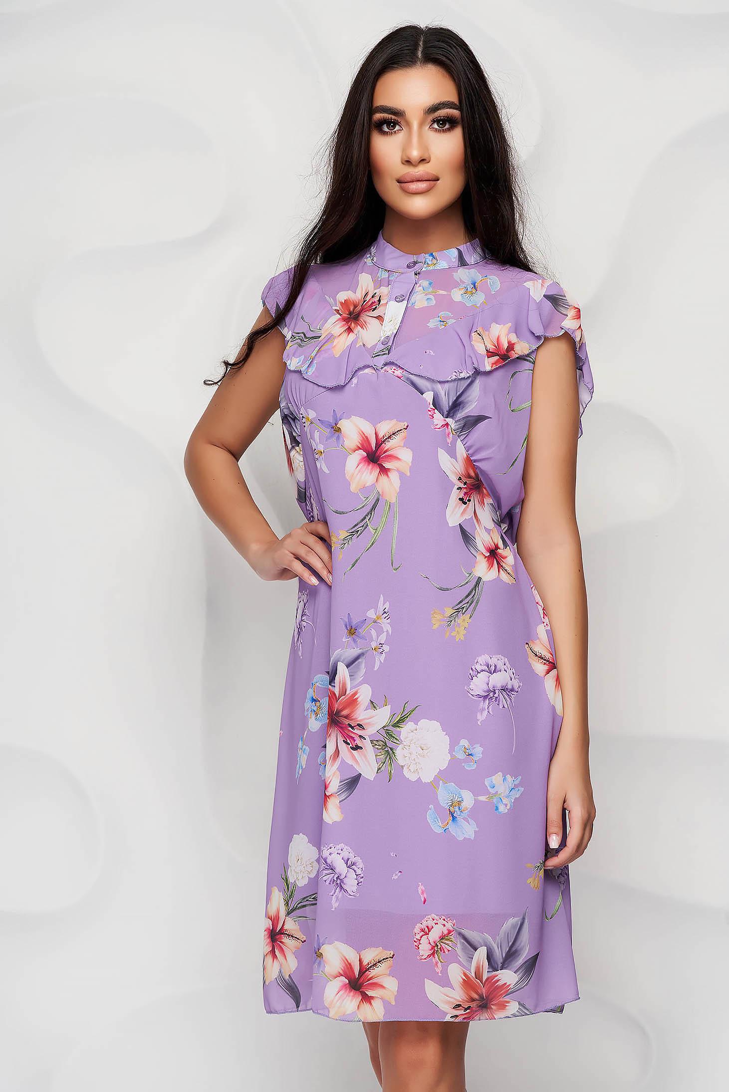 Dress midi straight airy fabric short sleeves