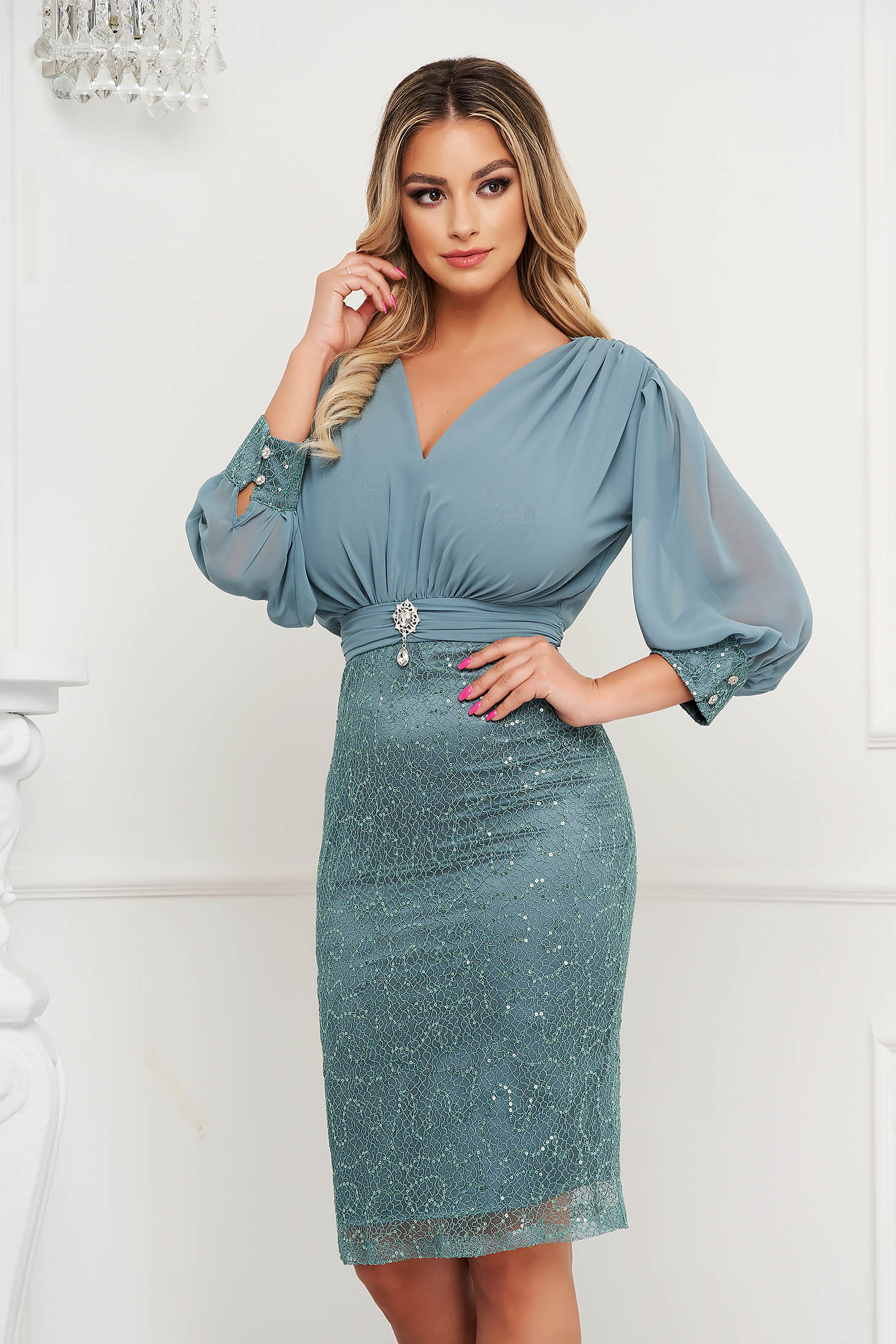Mint pencil dress satin texture skirt with vail overlap accessorized with breastpin