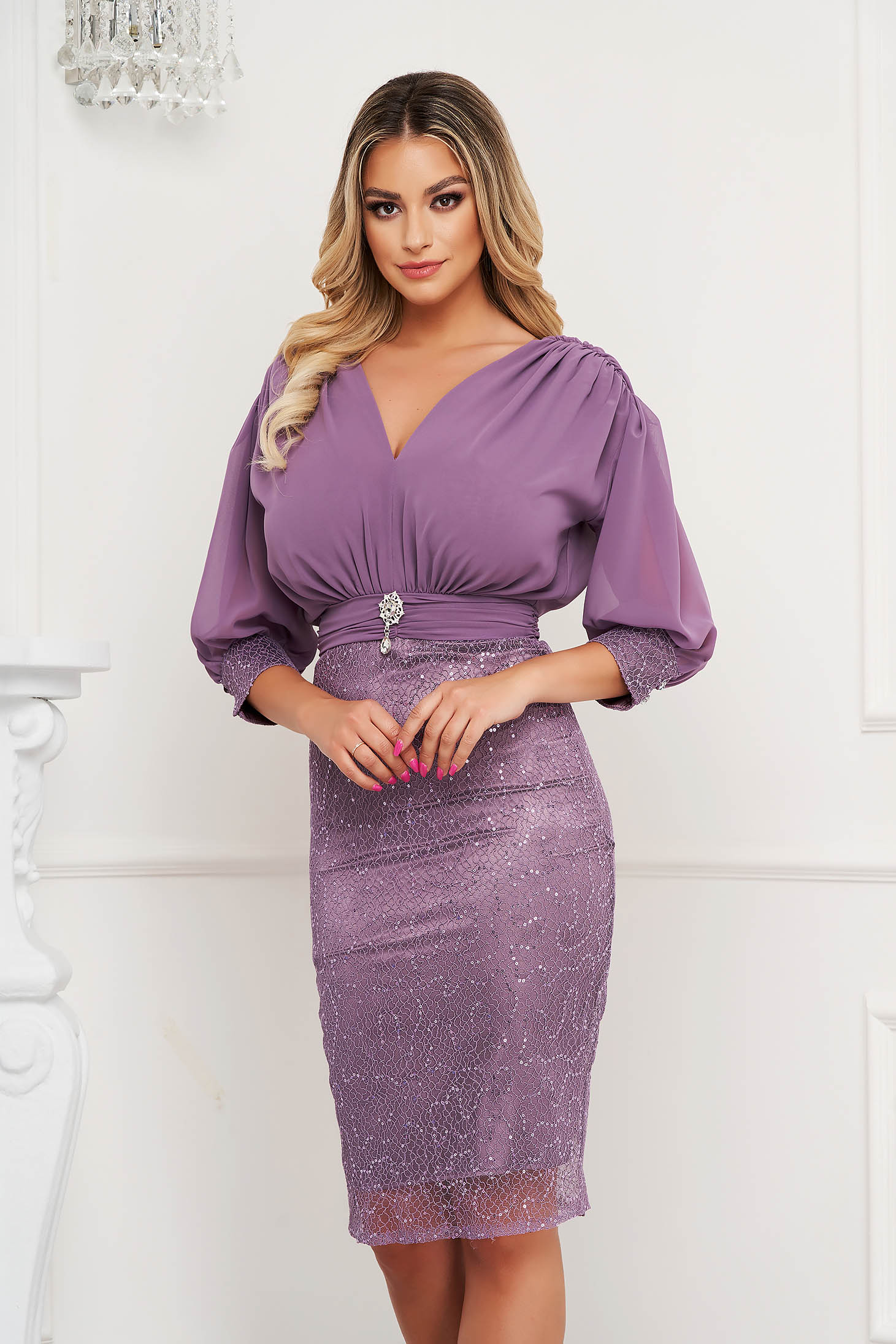 Purple pencil dress satin texture skirt with vail overlap accessorized with breastpin