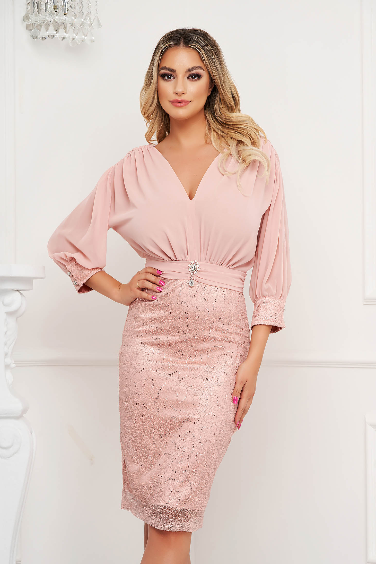 Lightpink pencil dress satin texture skirt with vail overlap accessorized with breastpin