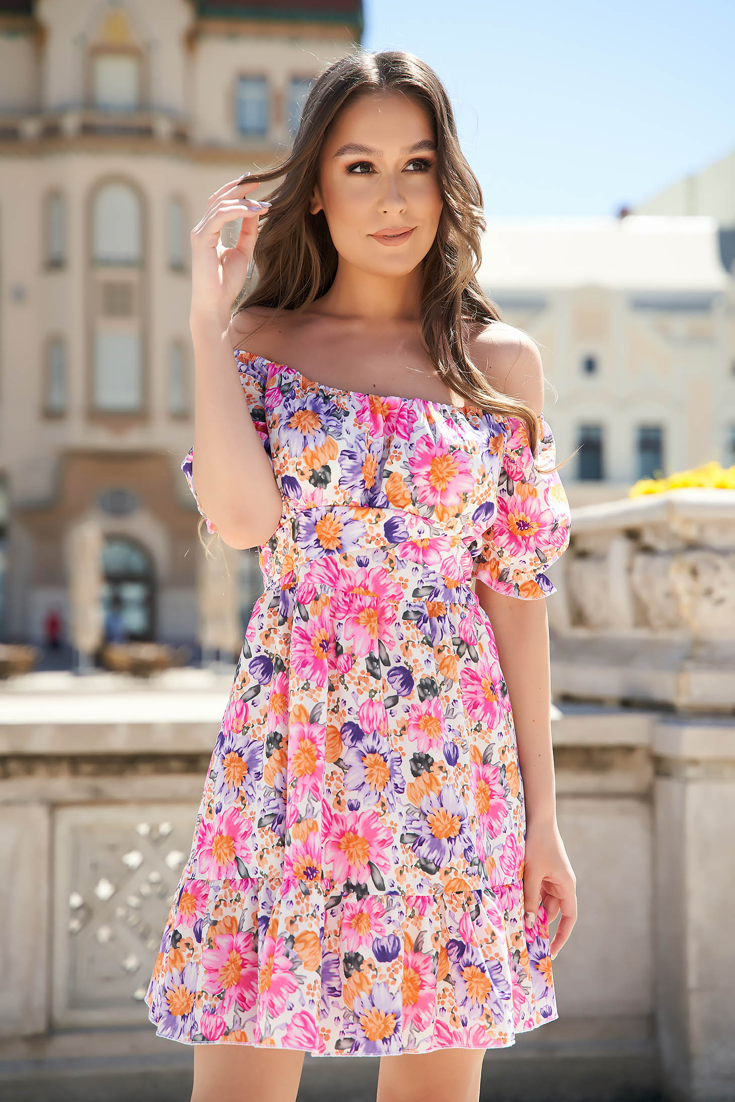 Pink dress with floral print cloche with ruffle details on the shoulders