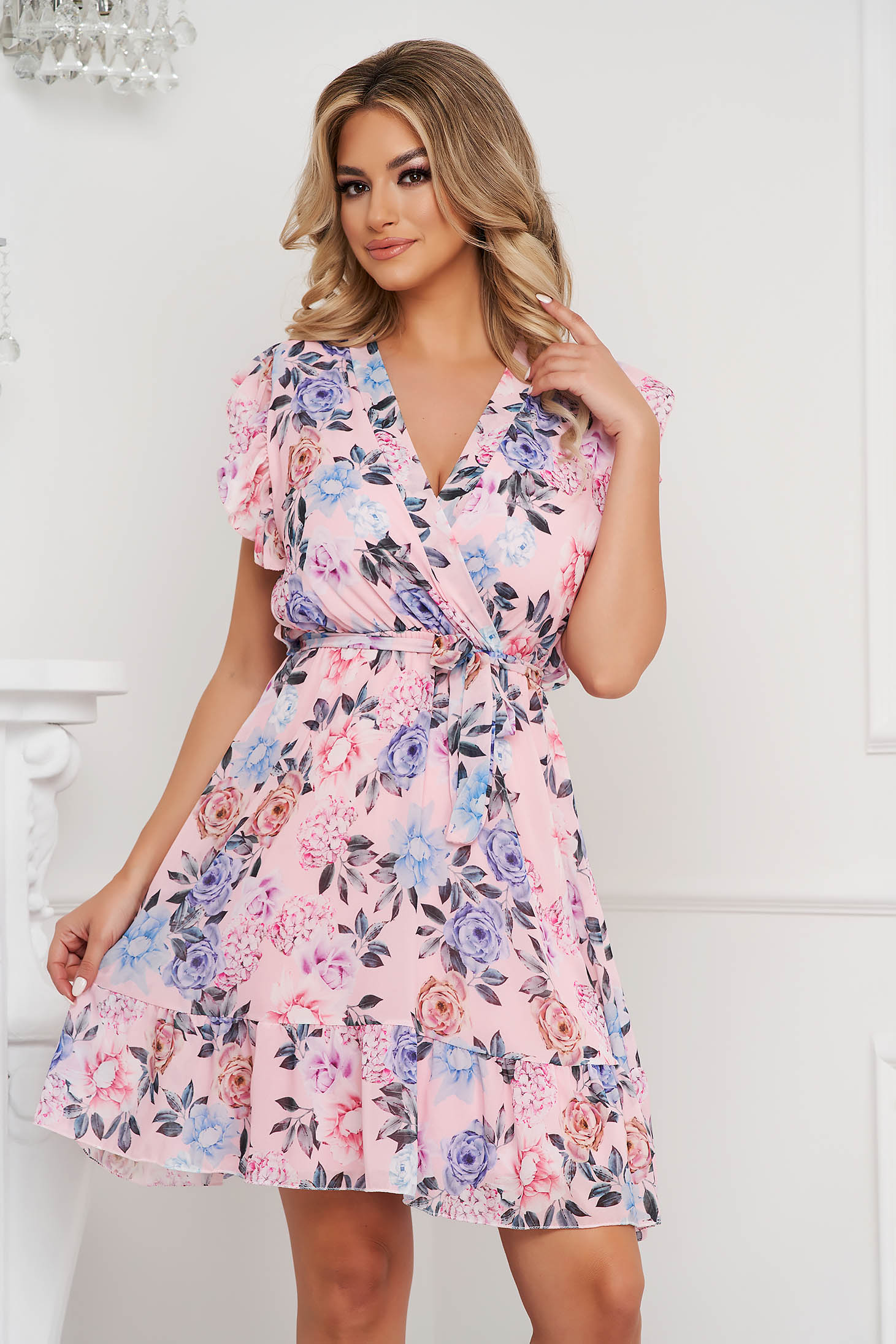 Pink dress short cut airy fabric with ruffle details