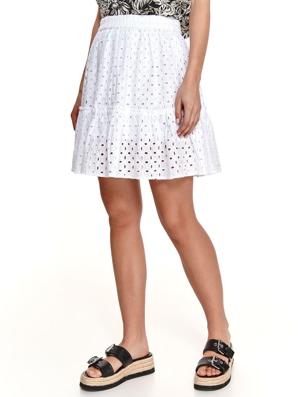 Fehér szoknya horgolt csipke harang alakú gumirozott derékrésszel