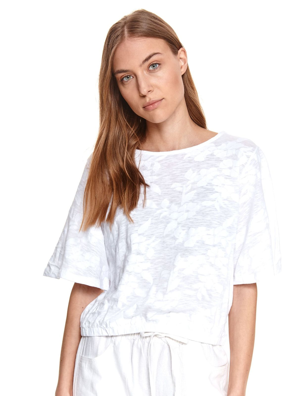 White women`s blouse loose fit slightly elastic cotton with floral print