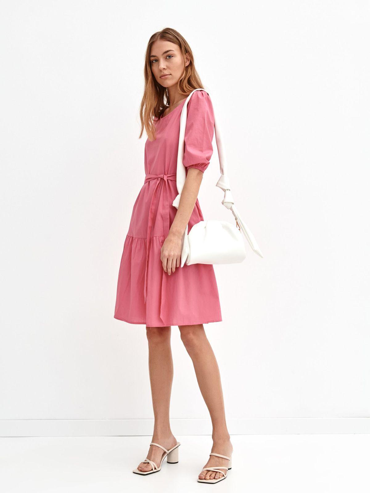 Rochie Top Secret roz din bumbac cu croi larg midi cu cordon detasabil