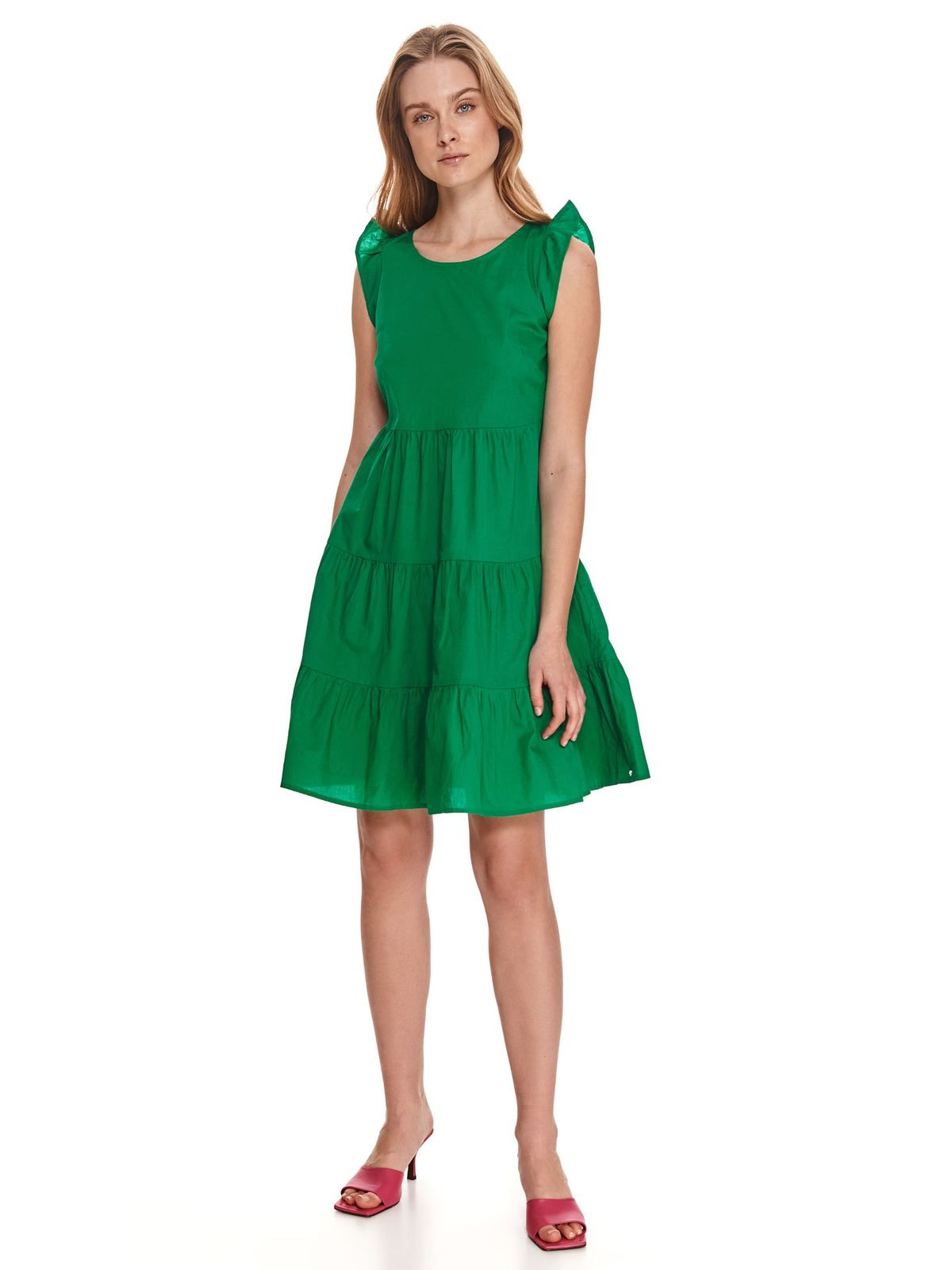 Green dress cotton with ruffle details loose fit