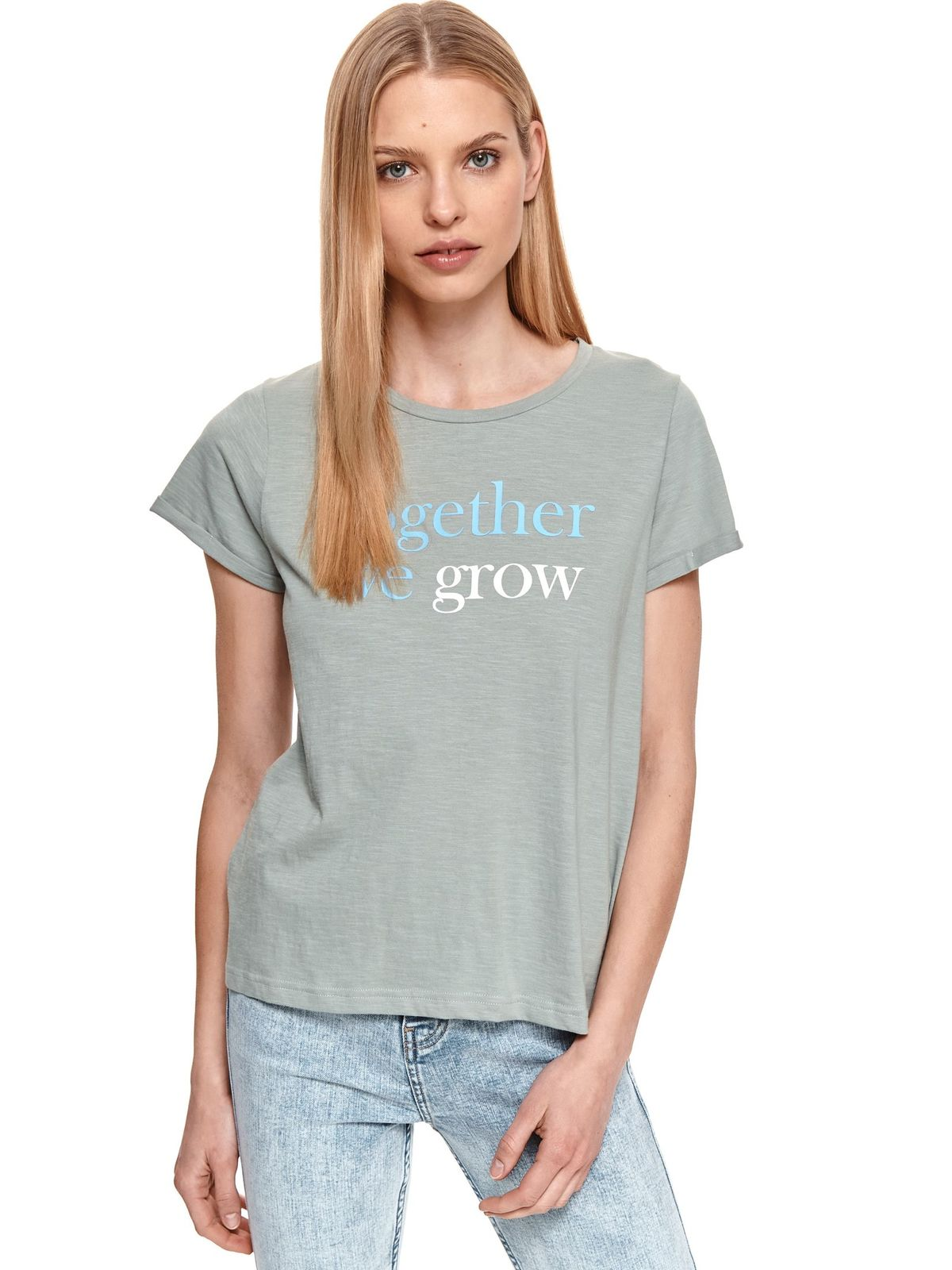 Grey t-shirt slightly elastic cotton with graphic details loose fit