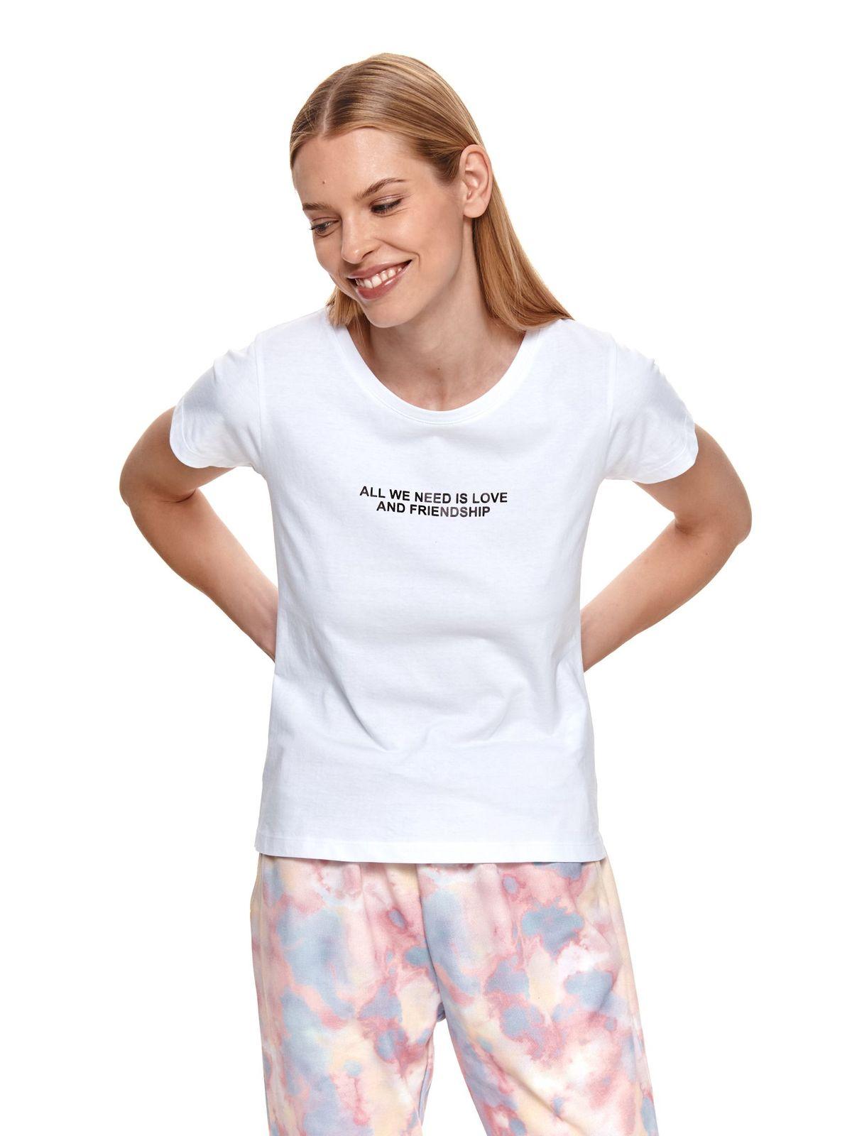 Tricou Top Secret alb din bumbac usor elastic cu imprimeuri grafice cu croi larg