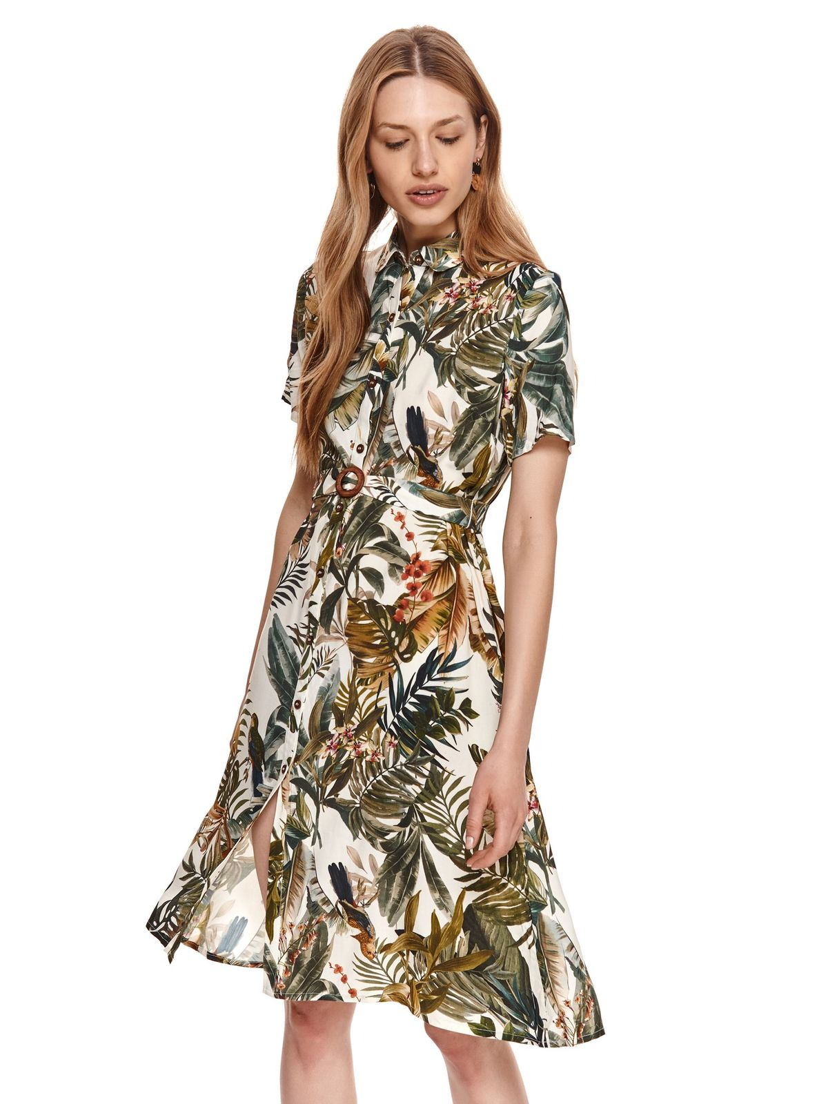 Dress airy fabric midi accessorized with belt with floral print
