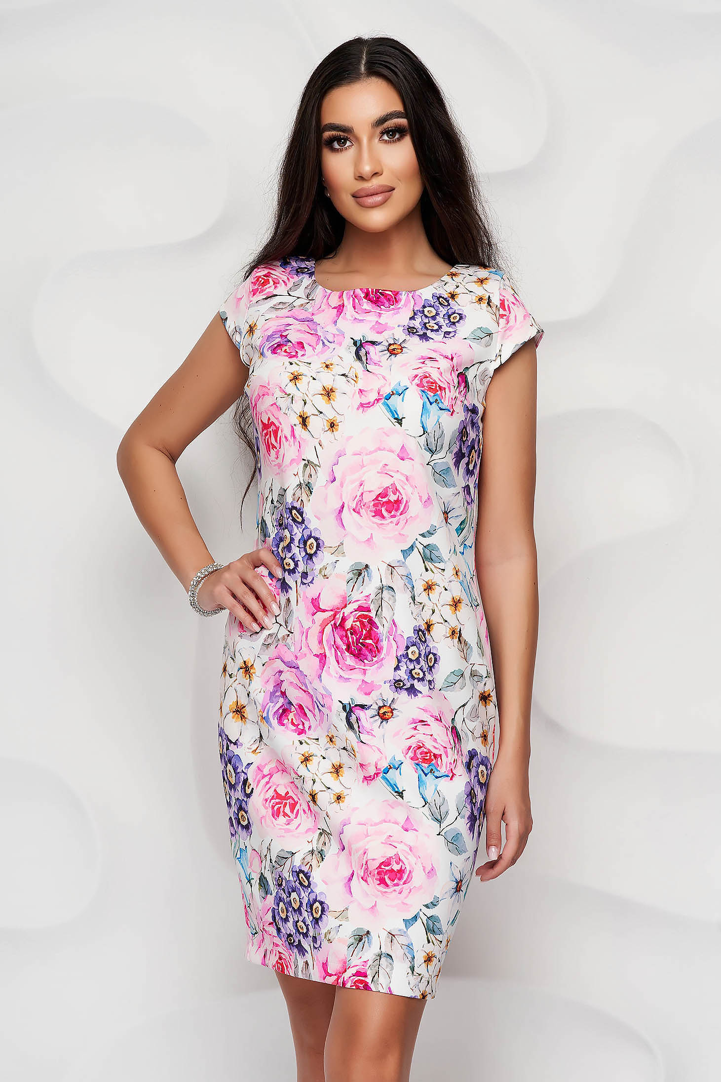 StarShinerS white dress with floral print slightly elastic fabric office straight