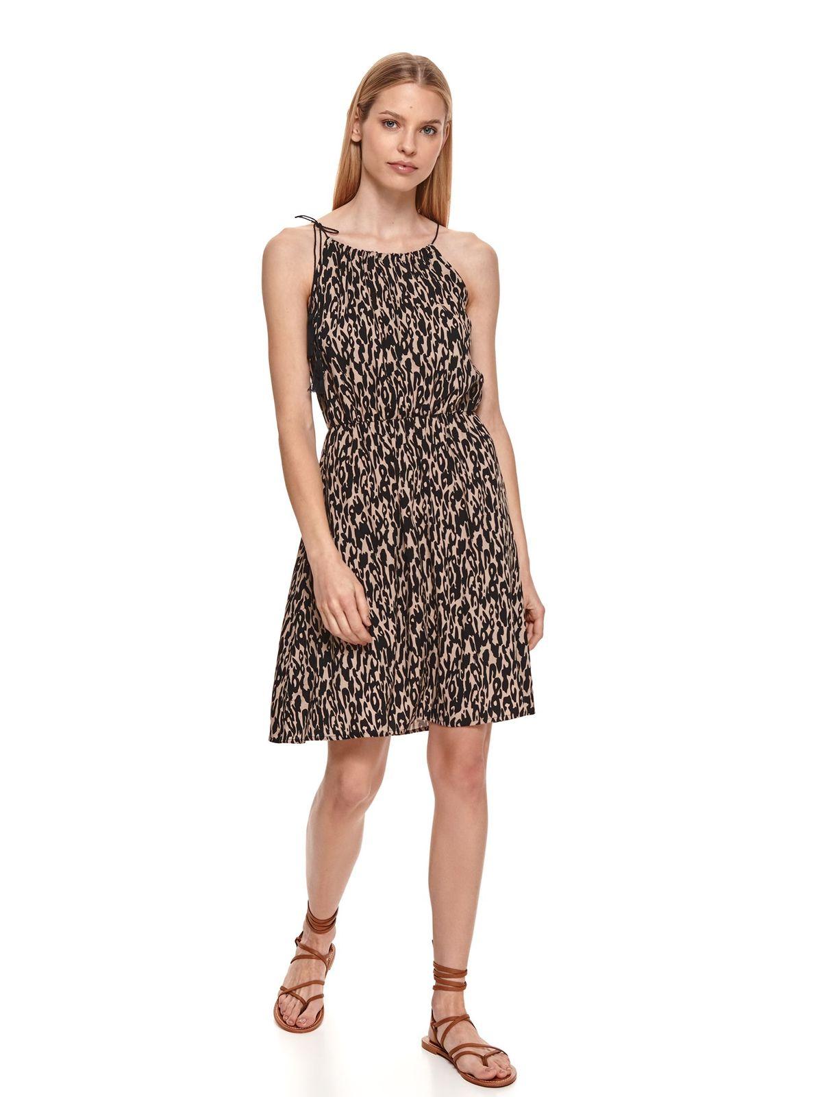 Black dress animal print cloche with elastic waist halter neck airy fabric