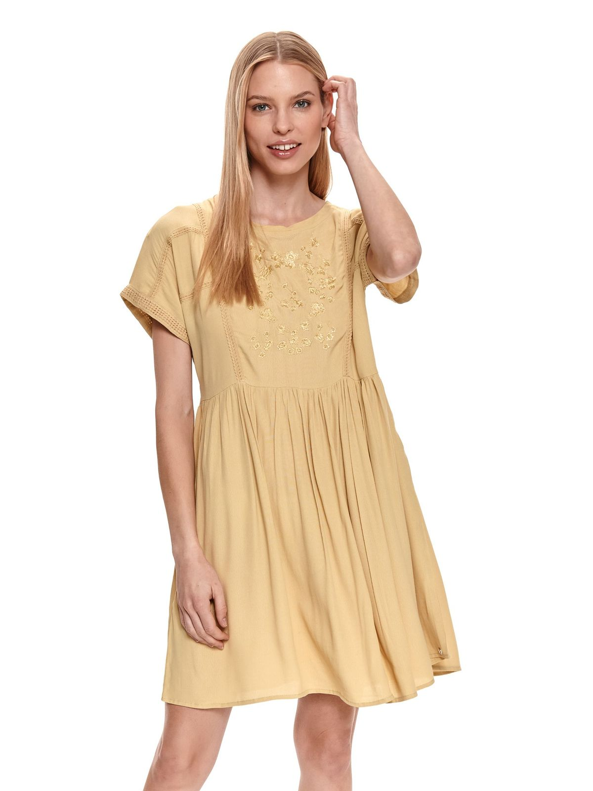 Yellow dress embroidered loose fit airy fabric