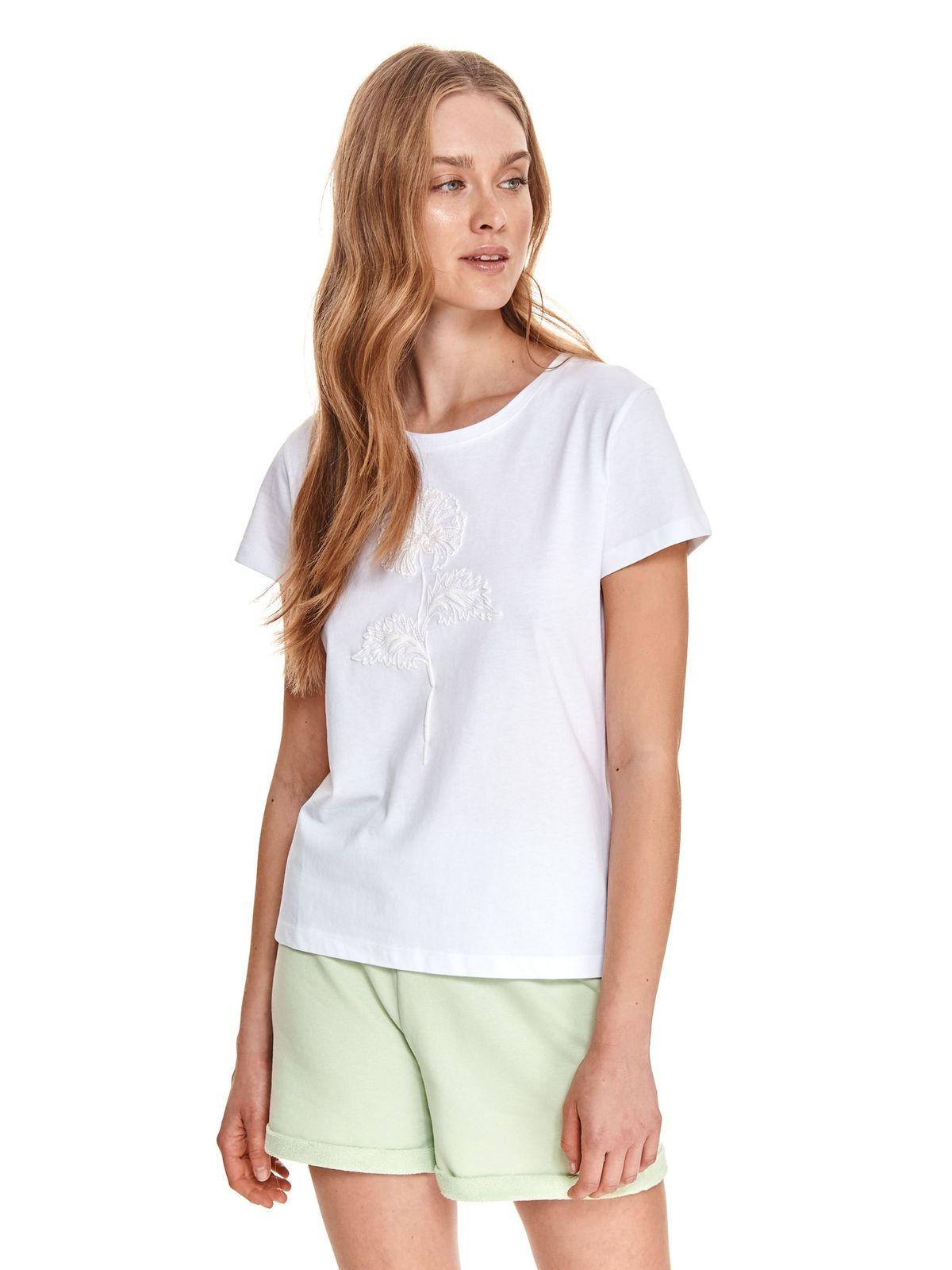 Tricou Top Secret alb din bumbac cu croi larg cu decolteu rotunjit cu imprimeuri grafice