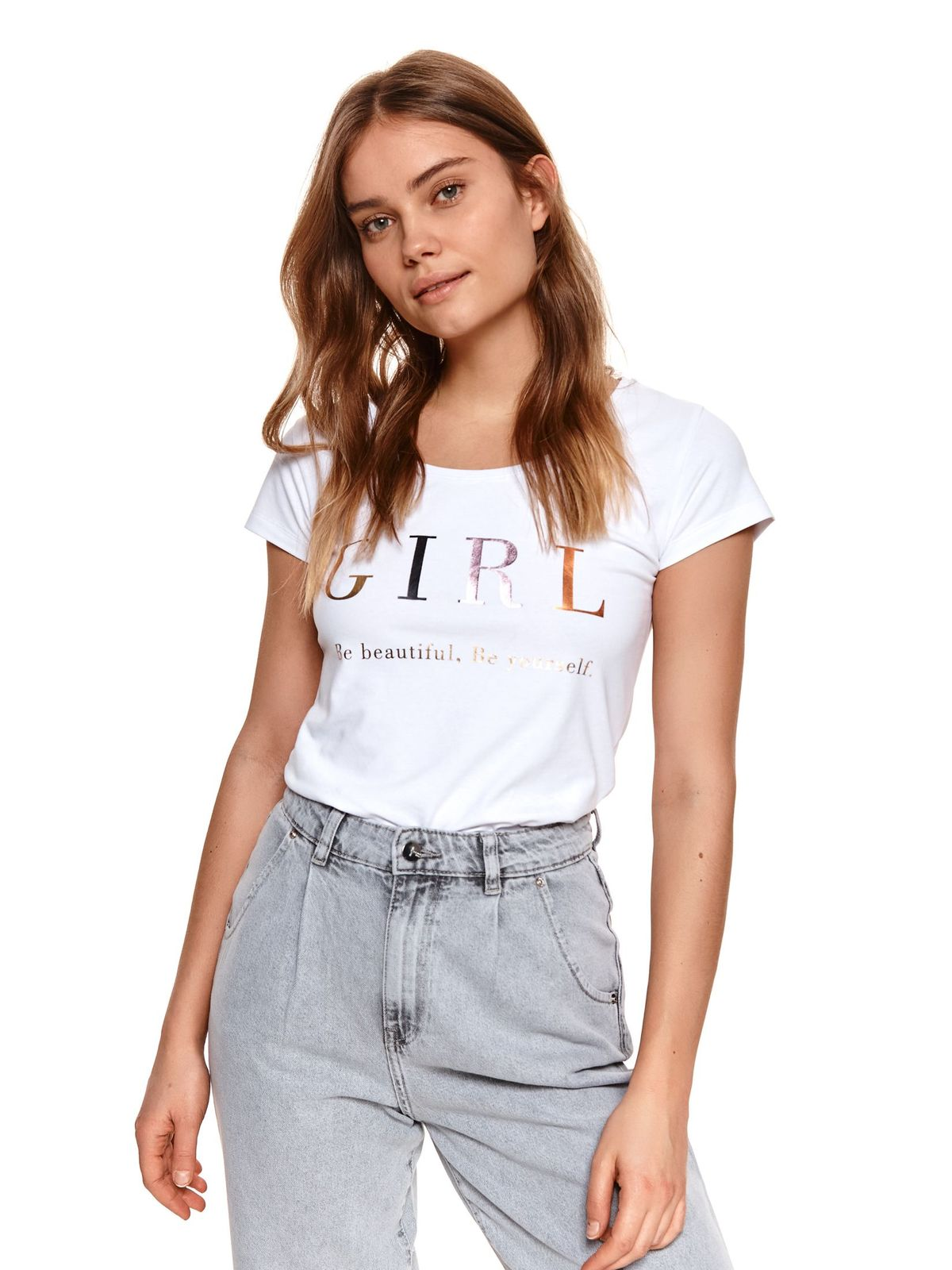 White t-shirt cotton loose fit short sleeves