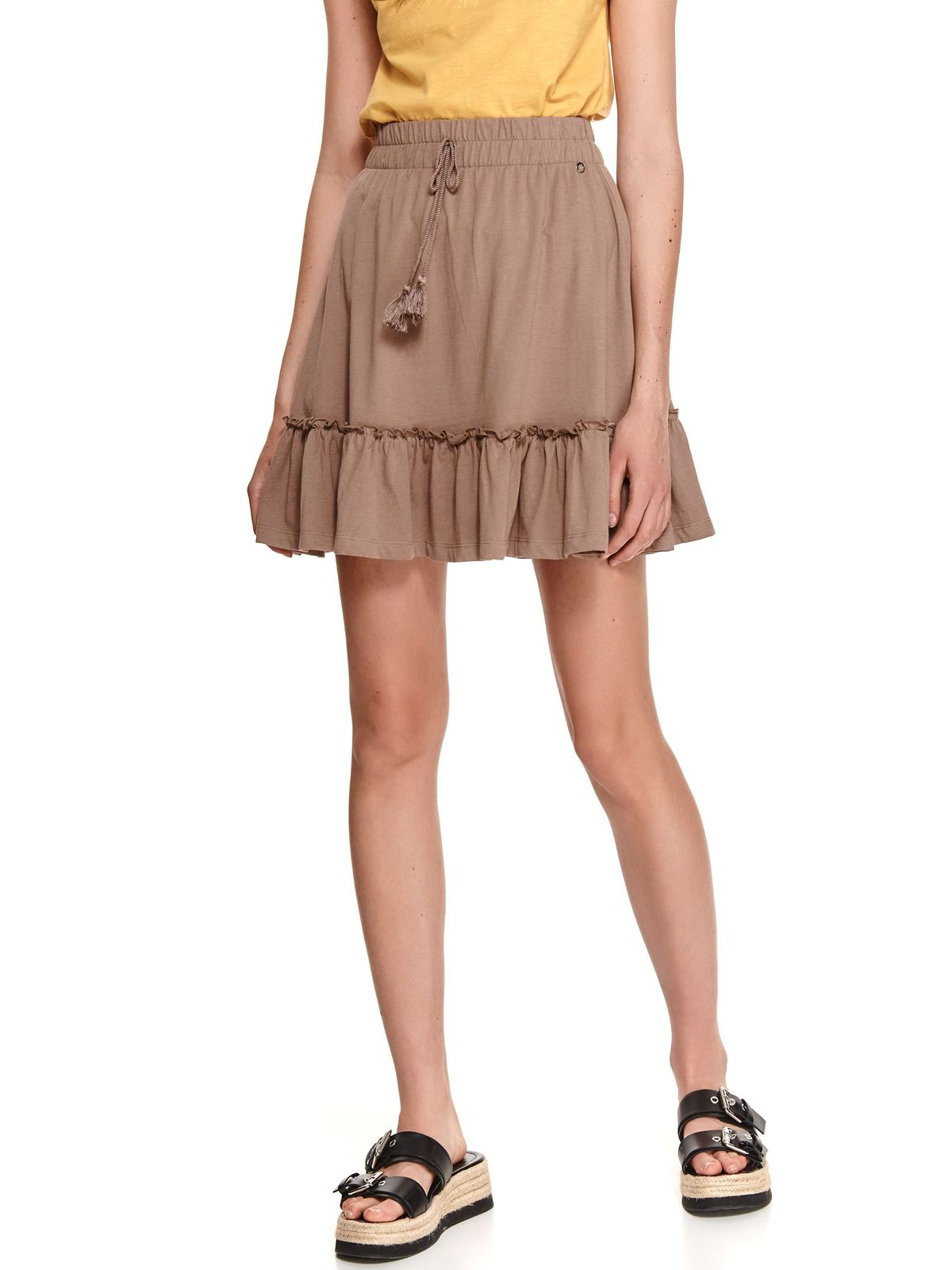 Peach skirt cotton cloche with elastic waist with ruffle details
