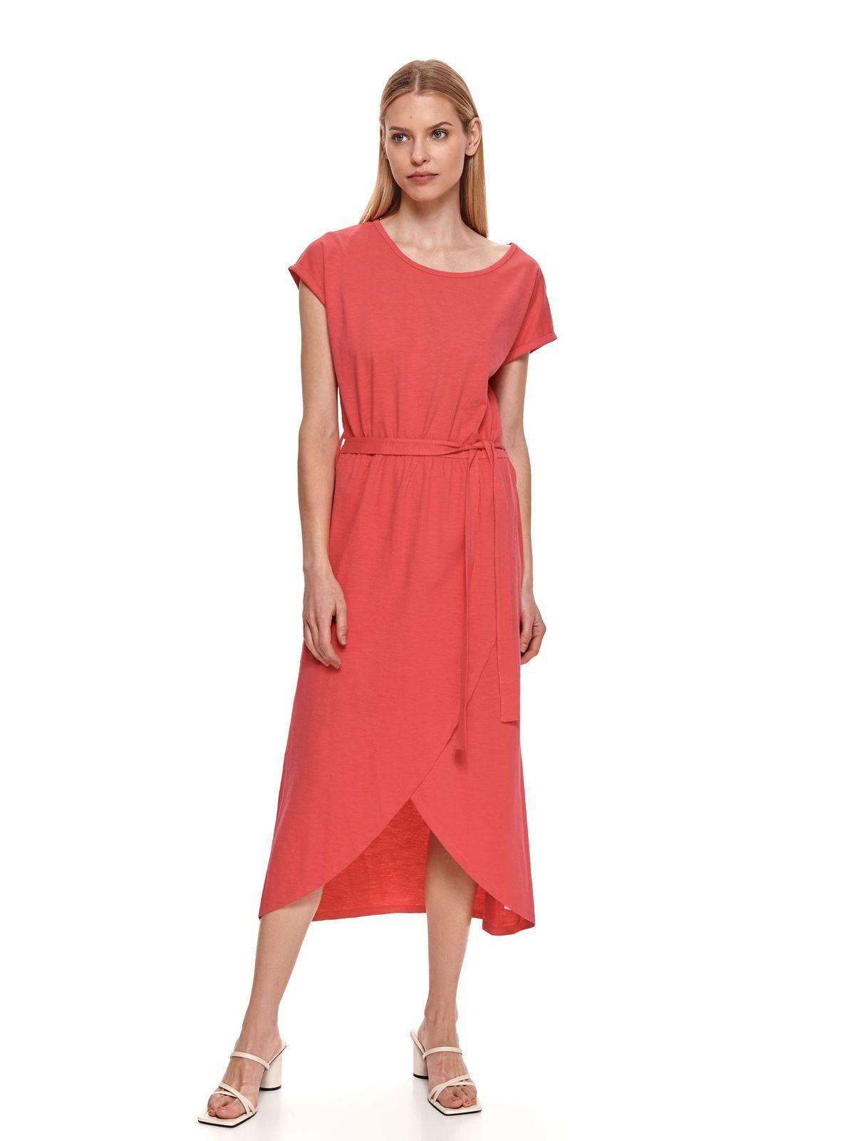 Pamutból készült rövid ujjú aszimetrikus pink ruha