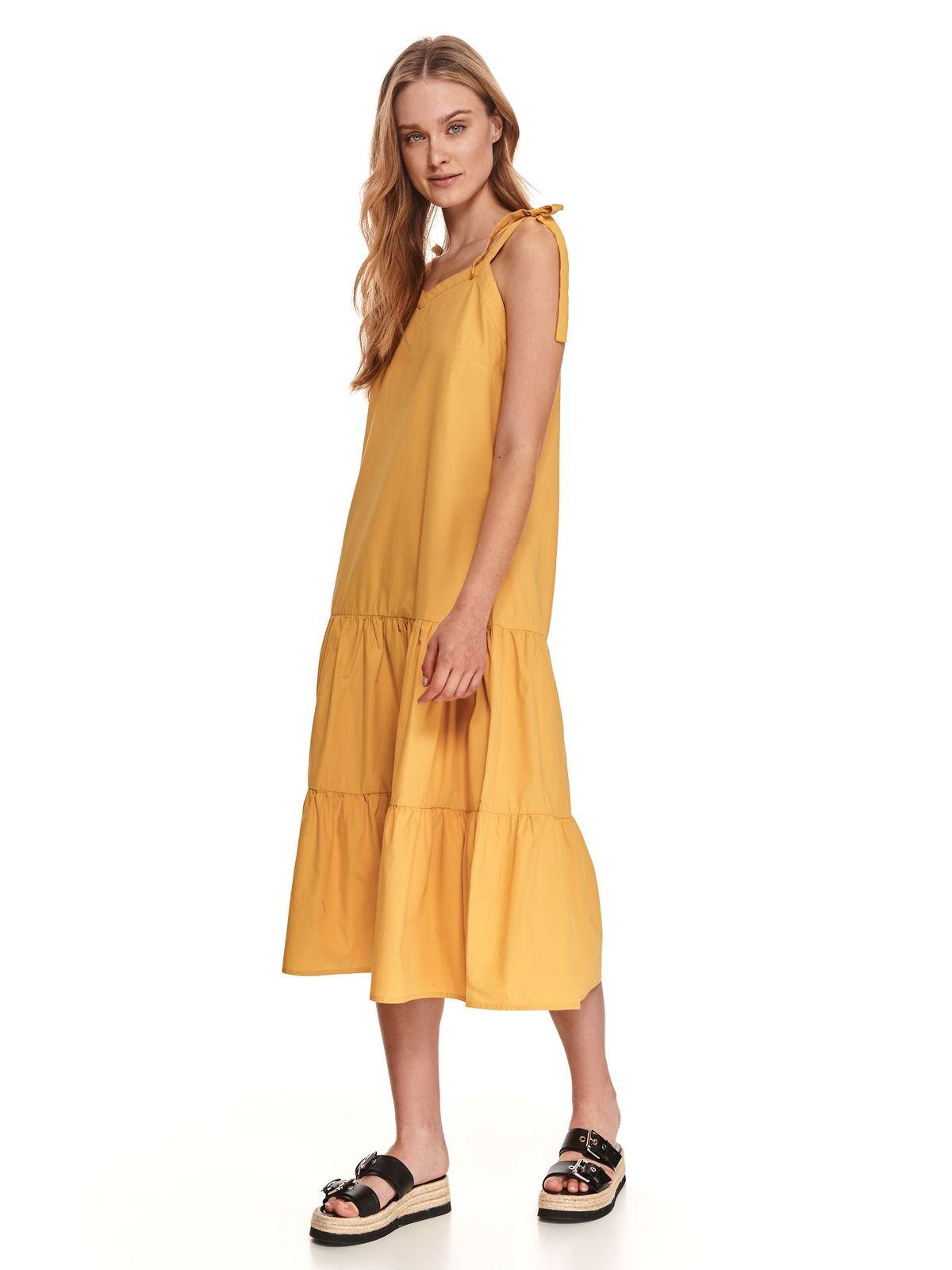 Yellow dress midi cotton with straps detachable cord