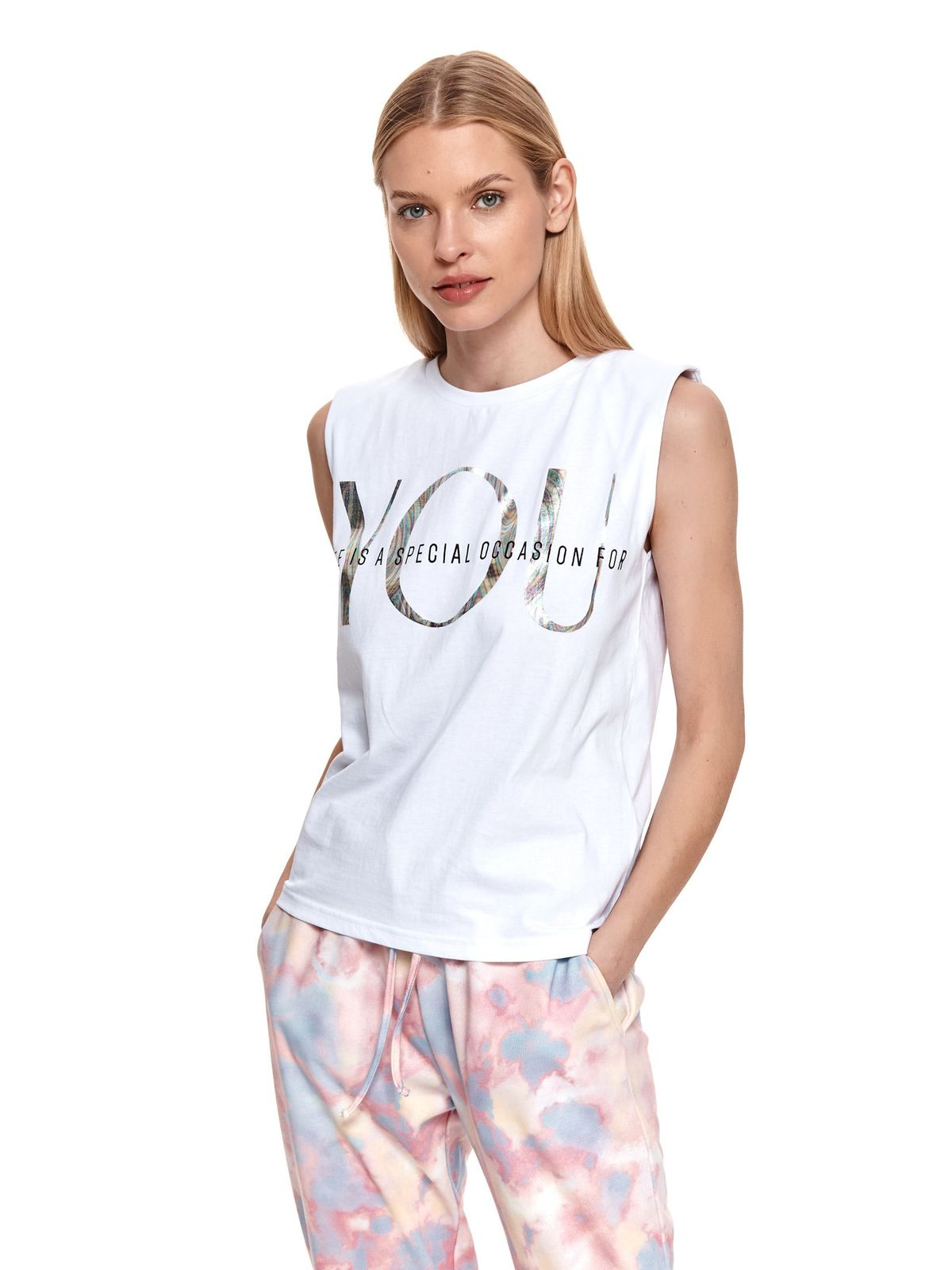 White top shirt sleeveless cotton with graphic details