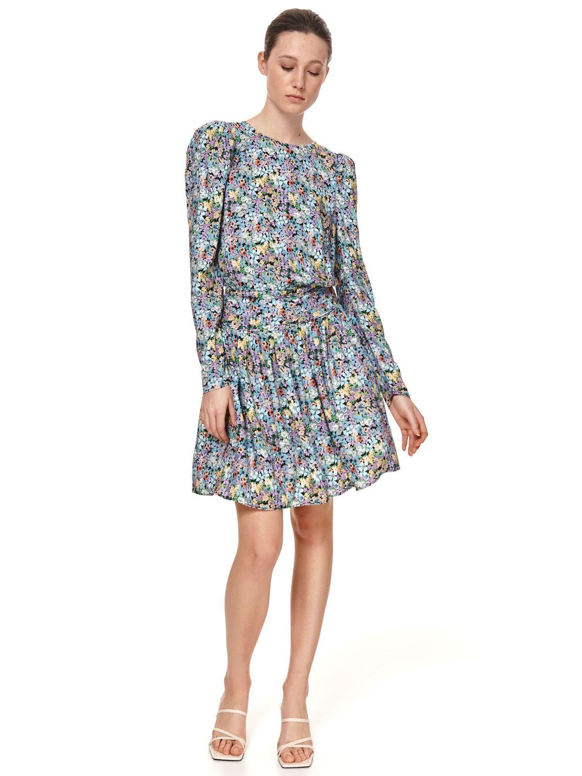 Blue dress short cut cloche long sleeved high shoulders