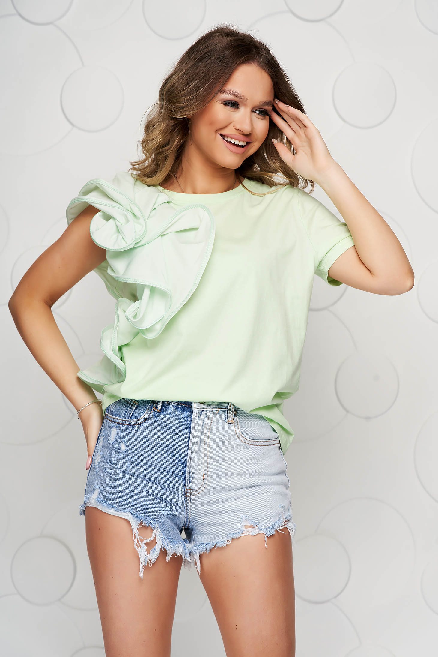 Lightgreen women`s blouse slightly elastic cotton with ruffle details loose fit