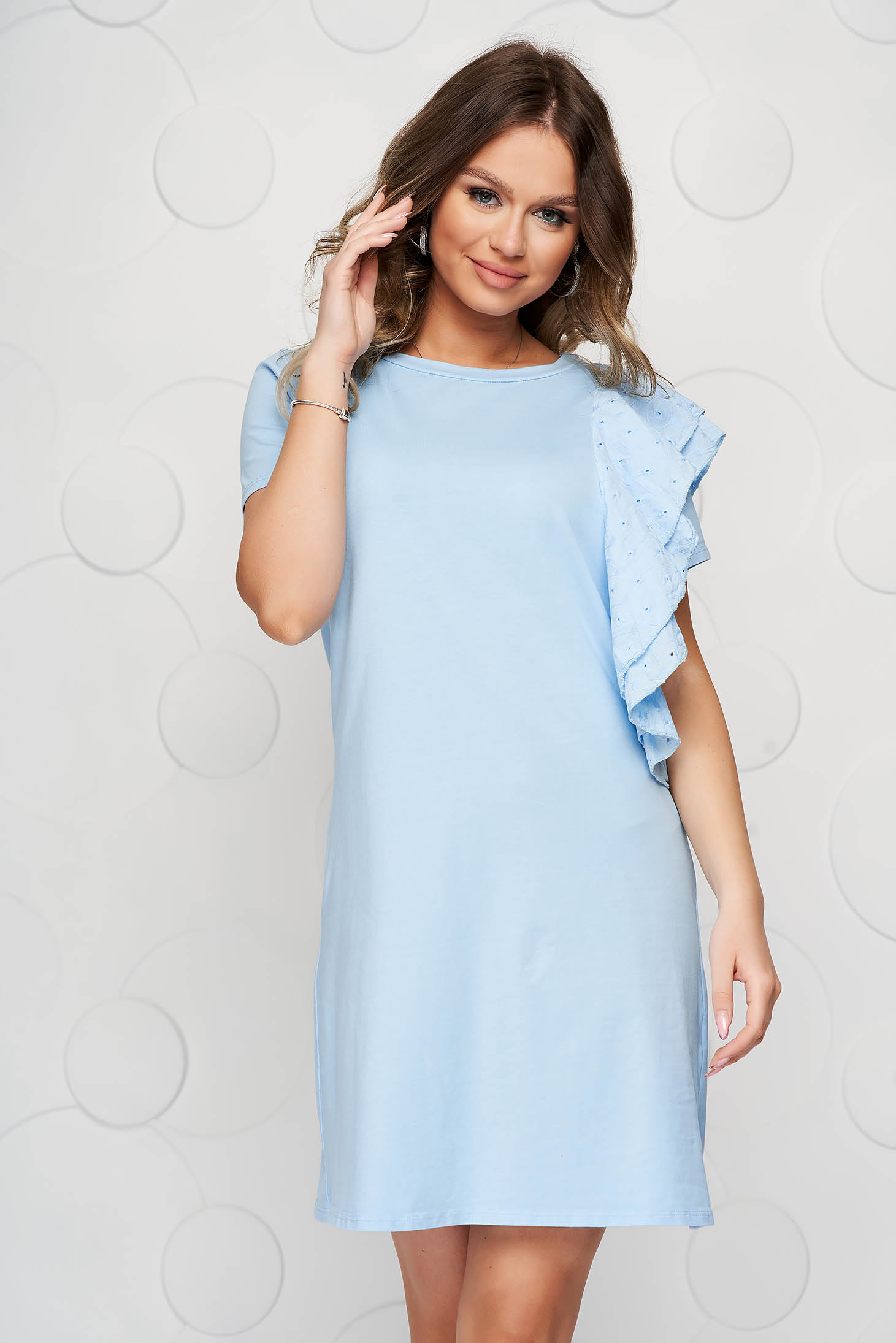 Lightblue dress cotton loose fit with ruffle details