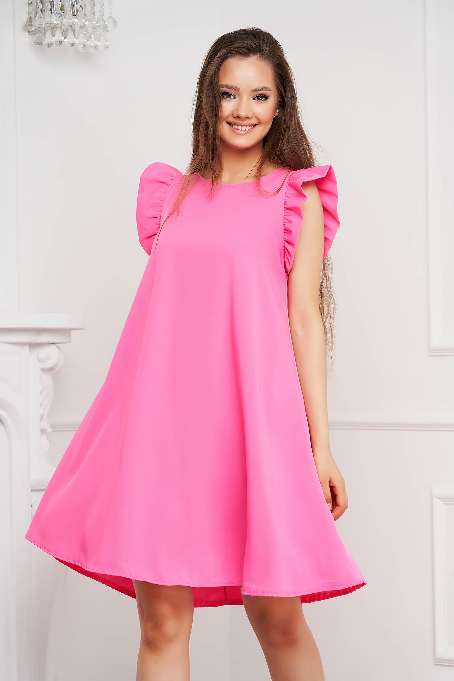 Pink dress short cut loose fit short sleeves with ruffle details