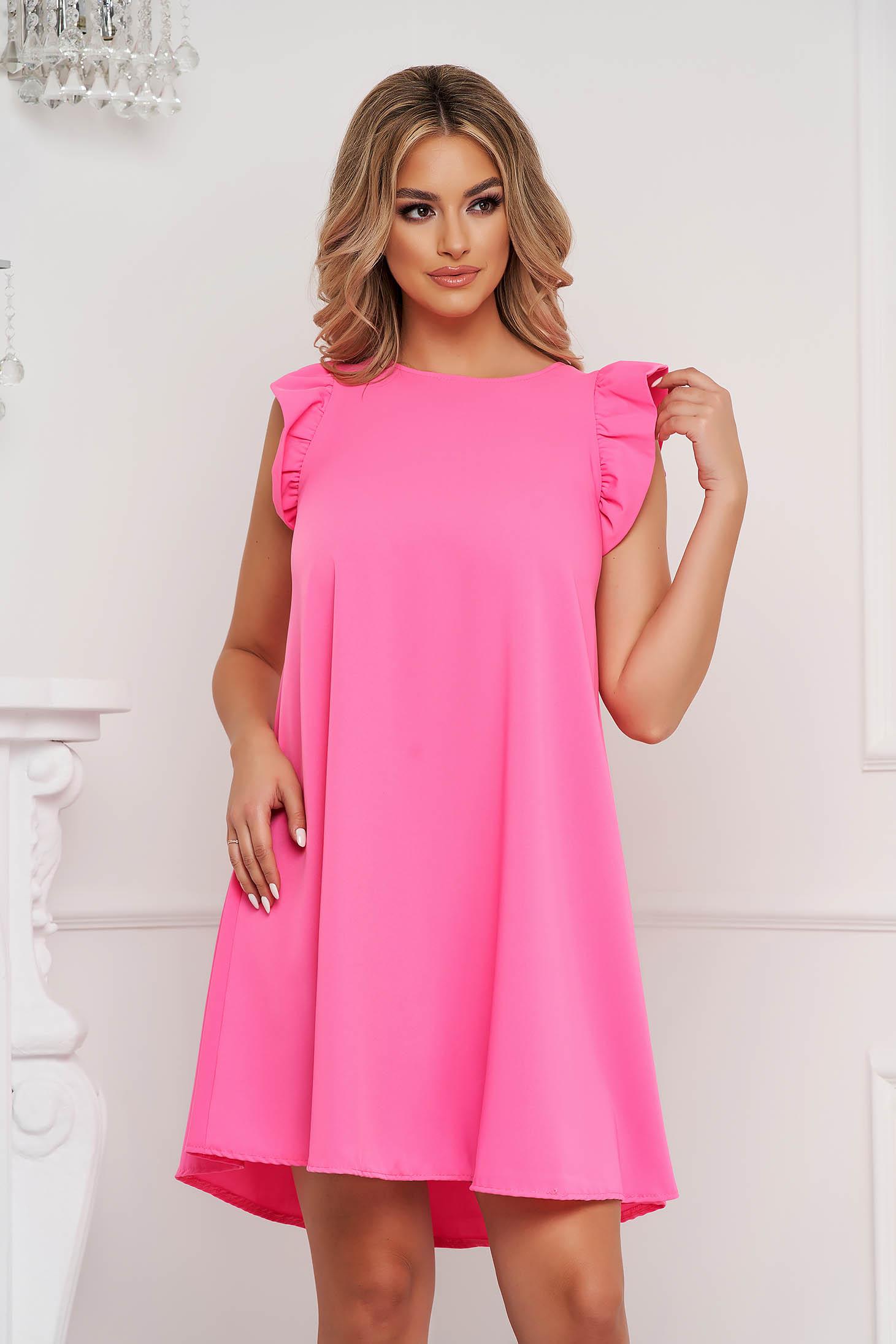 Pink rövid ujjú bő szabású rövid fodros ruha