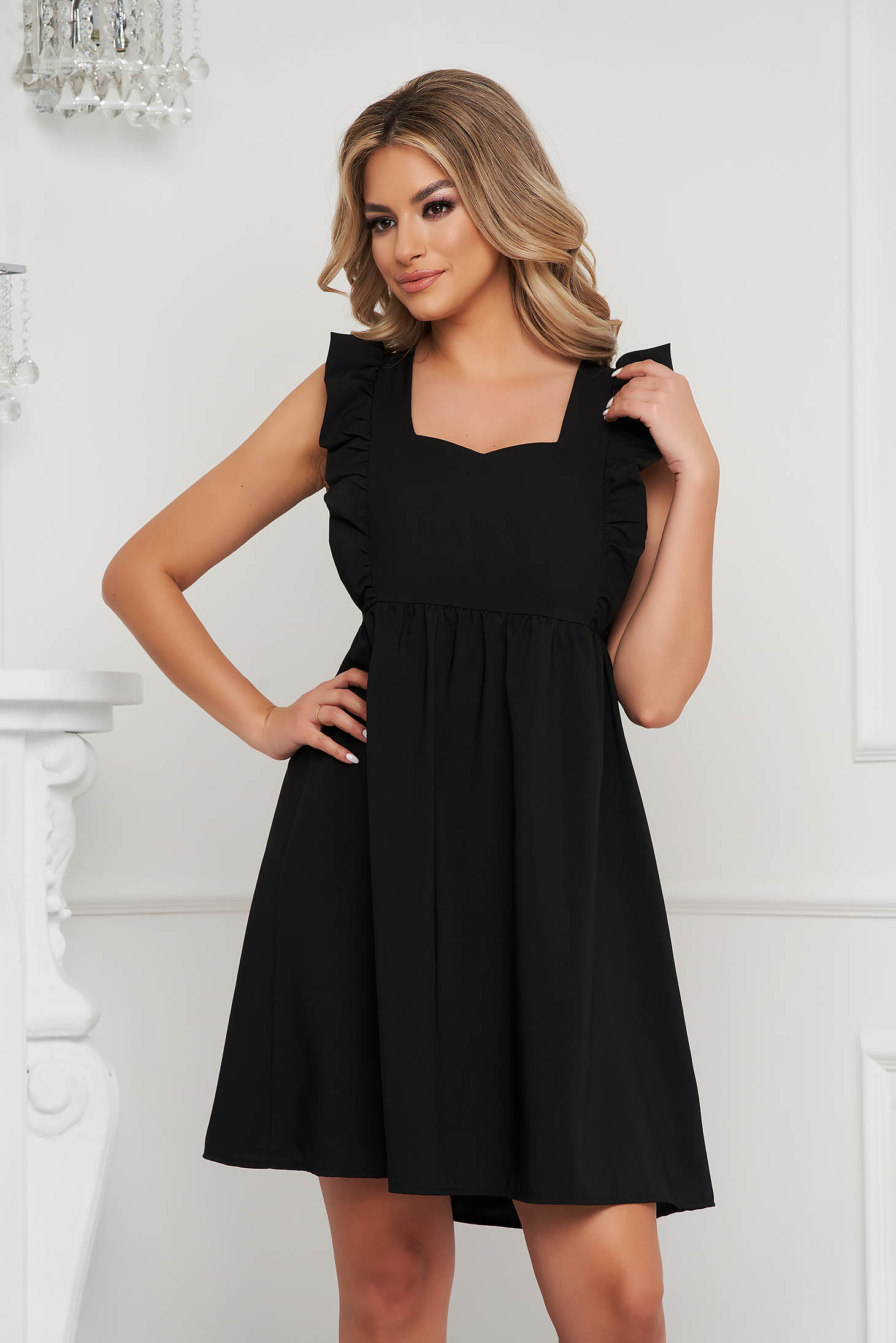 Black dress a-line with ruffle details short cut