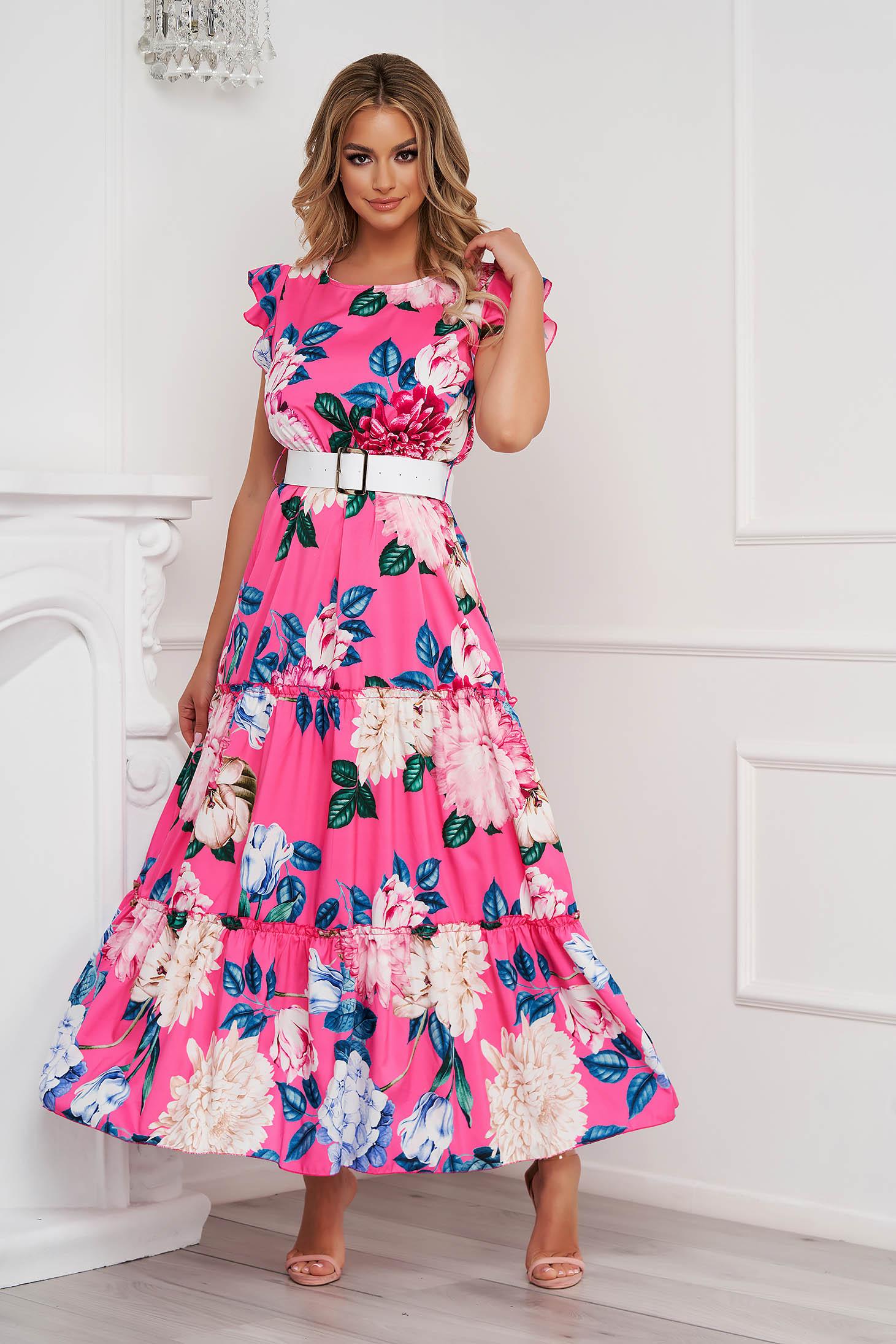 Rochie SunShine roz cu imprimeu floral in clos lunga cu volanase