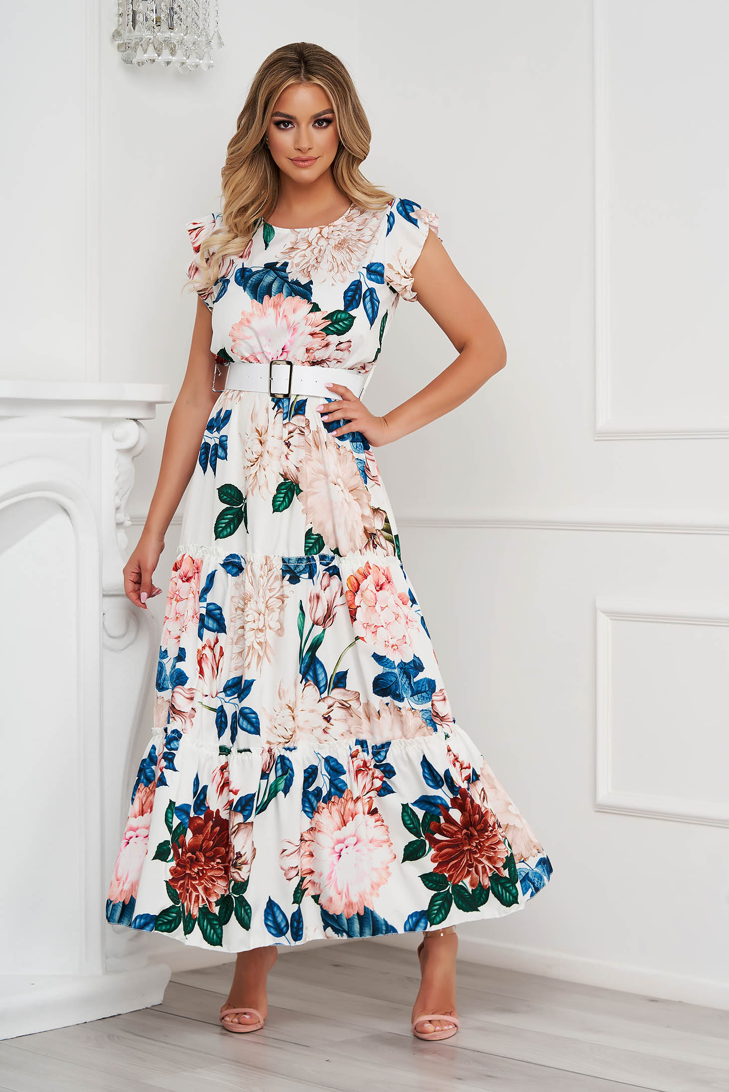 White dress with floral print cloche long with ruffle details