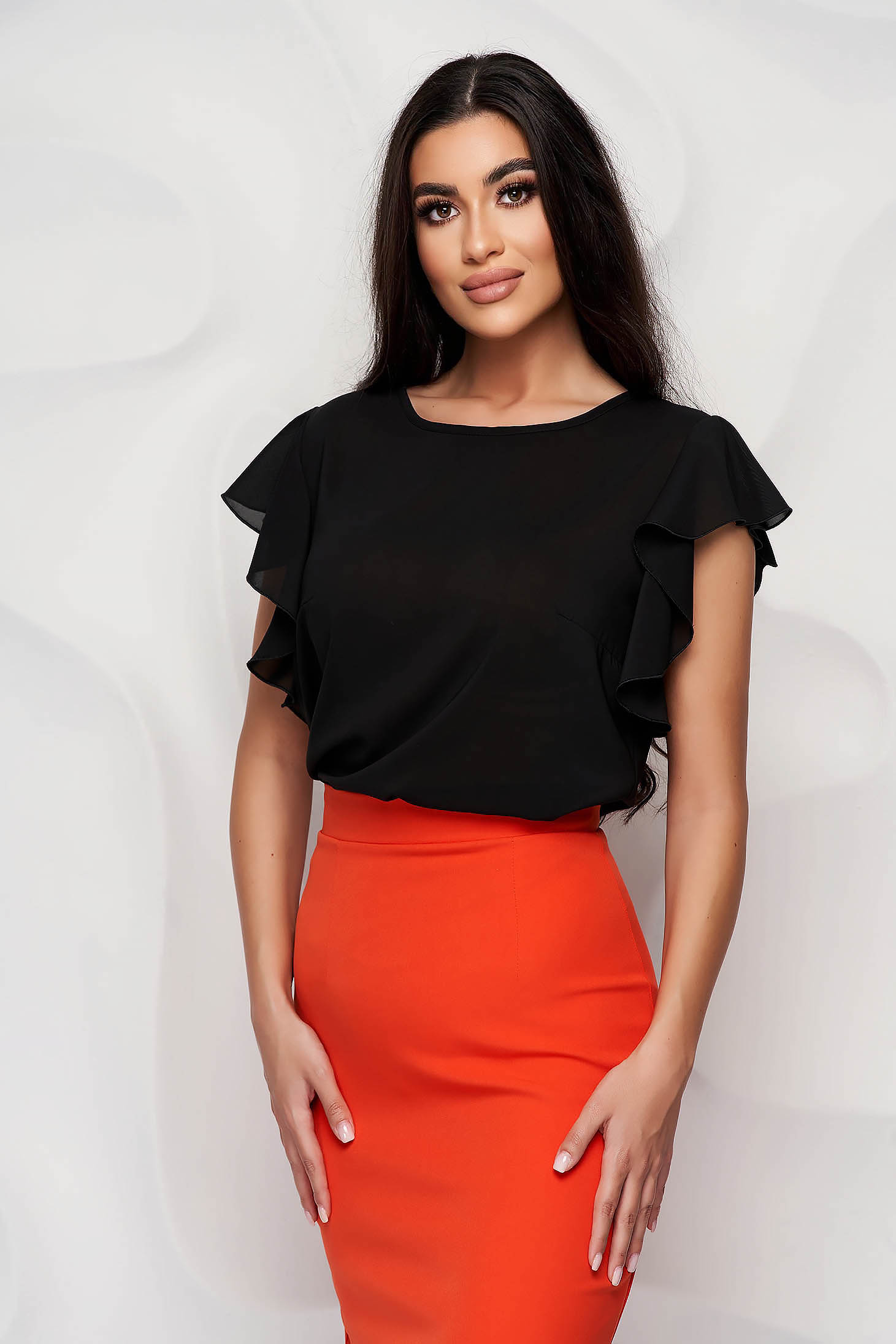 StarShinerS black women`s blouse elegant from veil fabric with ruffle details loose fit