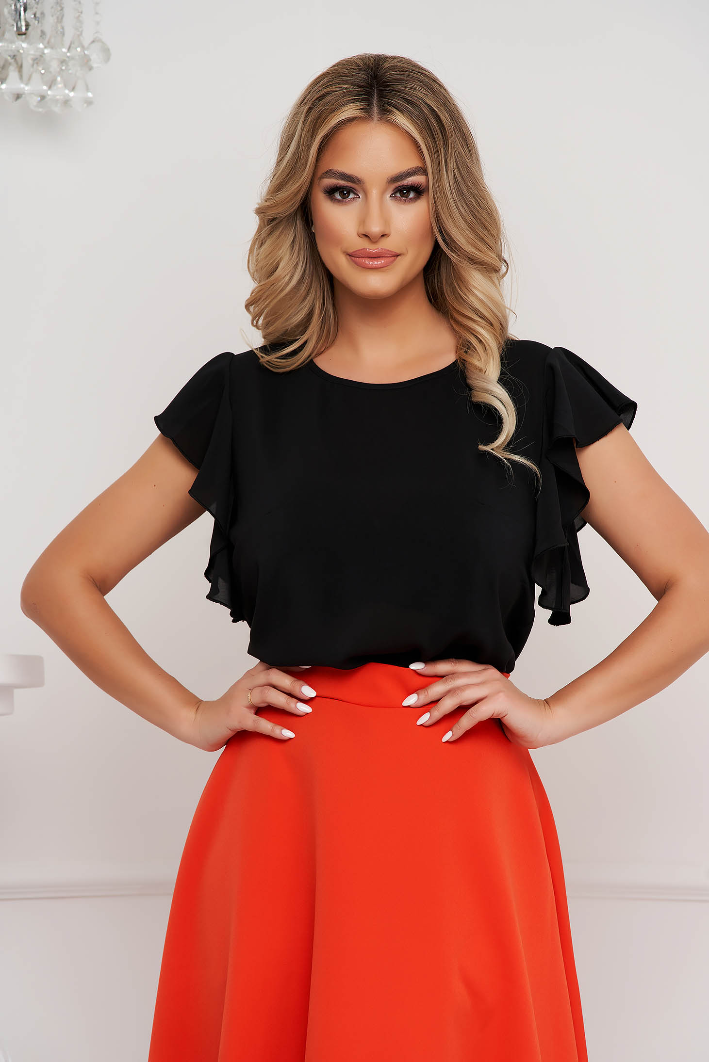 StarShinerS black women`s blouse elegant with ruffle details loose fit with rounded cleavage