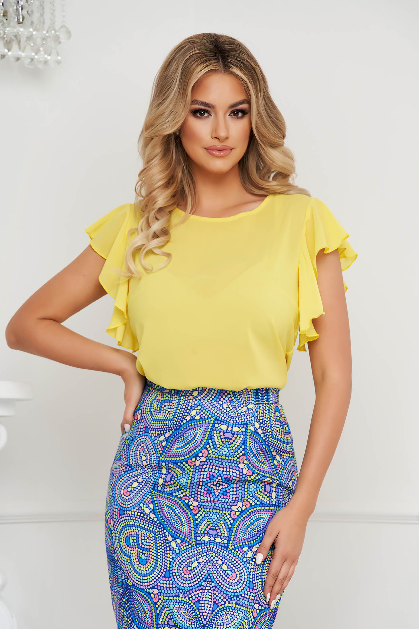 StarShinerS yellow women`s blouse elegant with ruffle details loose fit with rounded cleavage