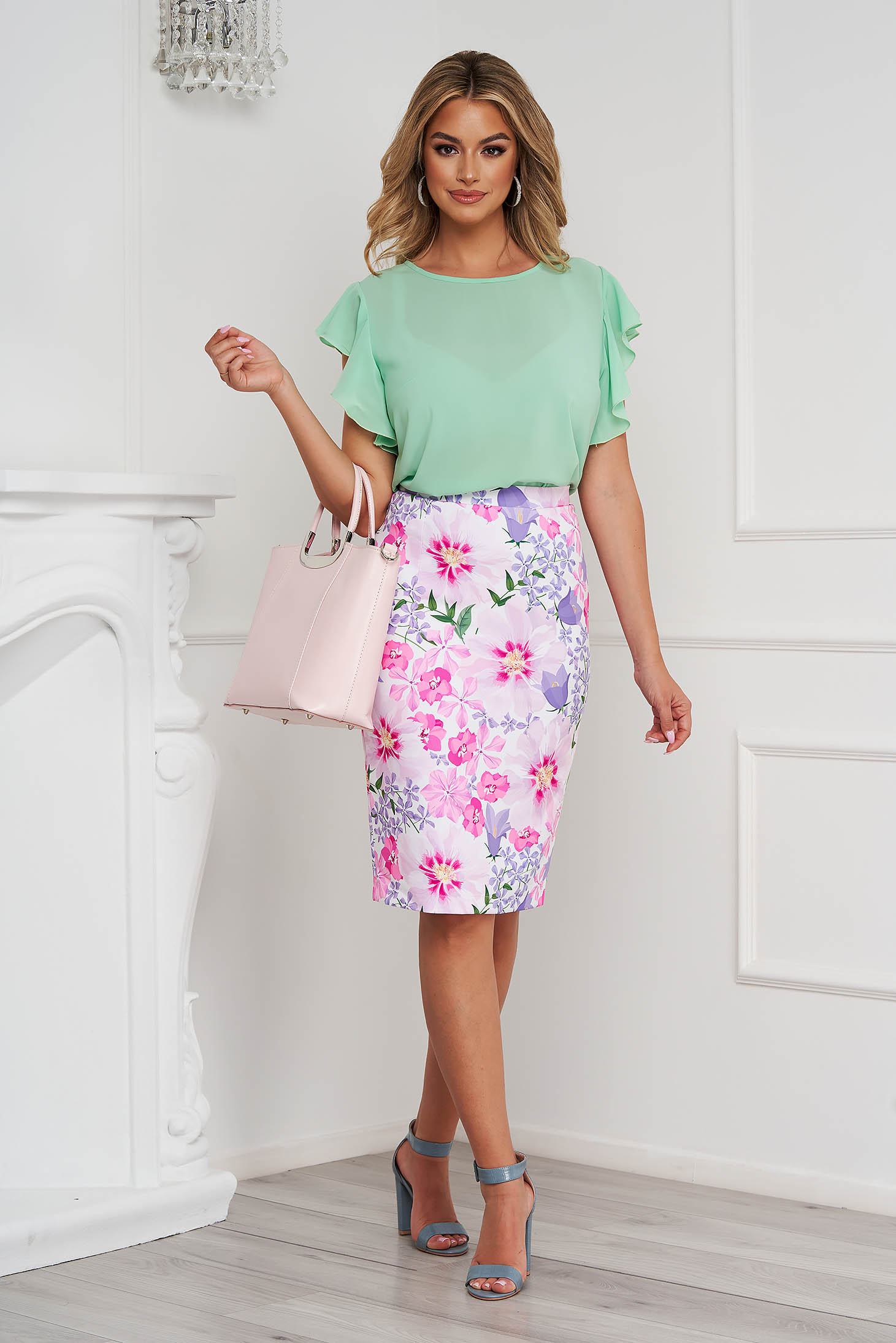 StarShinerS mint women`s blouse elegant with ruffle details loose fit with rounded cleavage