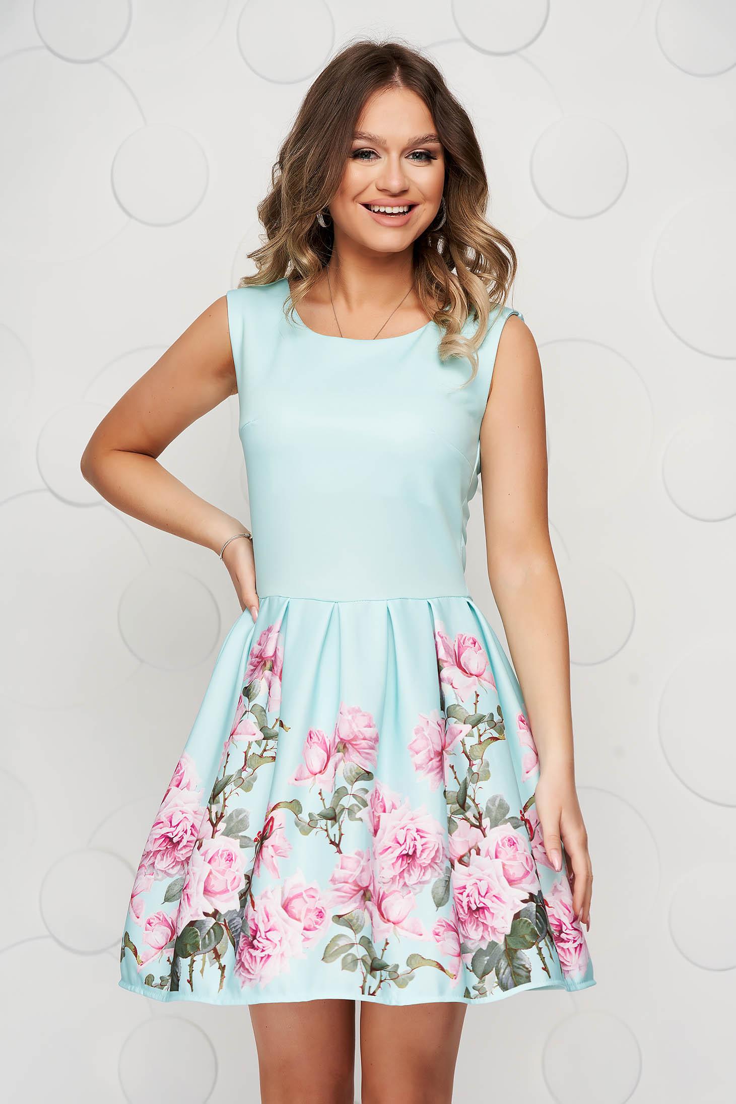 Aqua dress with floral print cloche slightly elastic fabric short cut