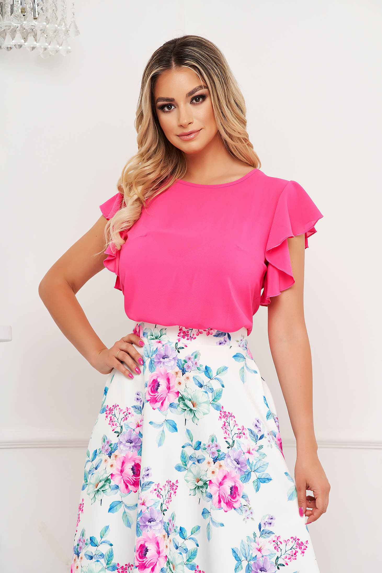 StarShinerS fuchsia women`s blouse elegant with ruffle details loose fit with rounded cleavage