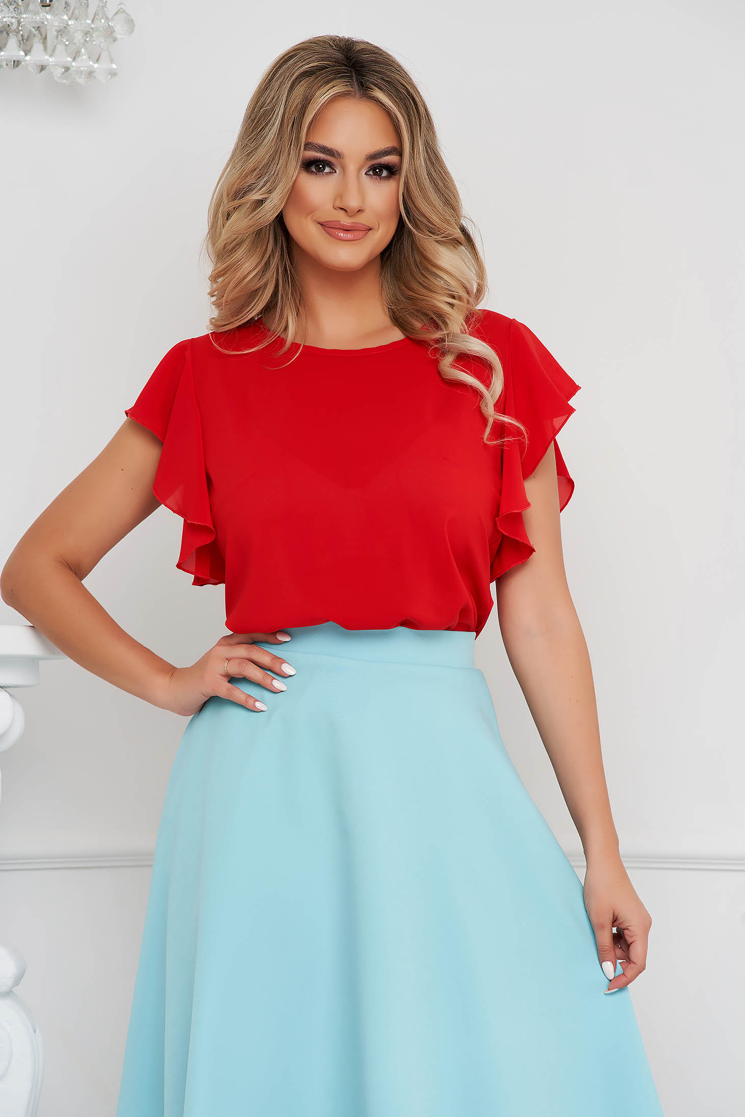Bluza dama StarShinerS rosie eleganta cu croi larg cu volanase si decolteu rotunjit