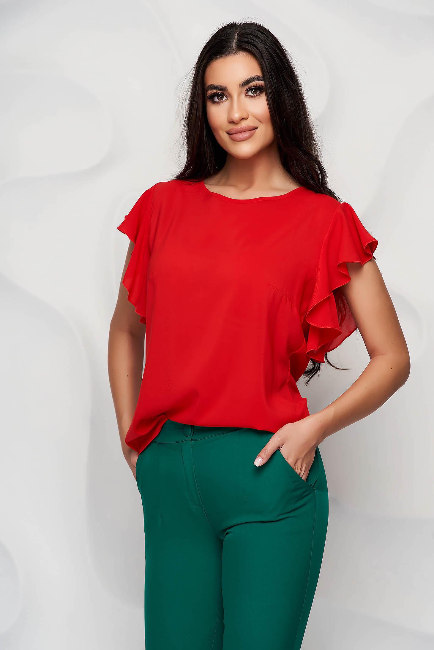 Bluza dama StarShinerS rosie eleganta din voal cu croi larg cu volanase