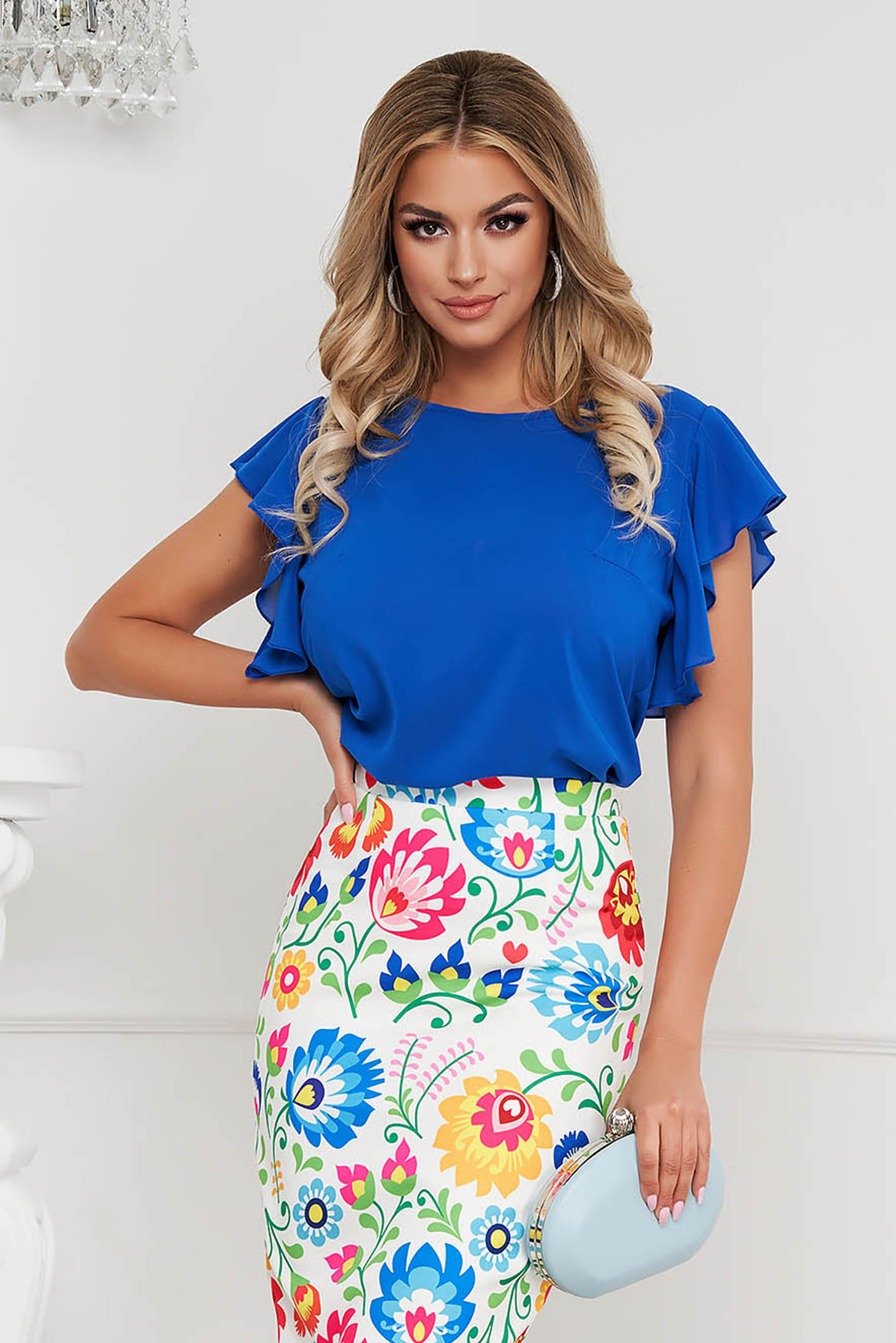 StarShinerS blue women`s blouse elegant from veil fabric with ruffle details loose fit