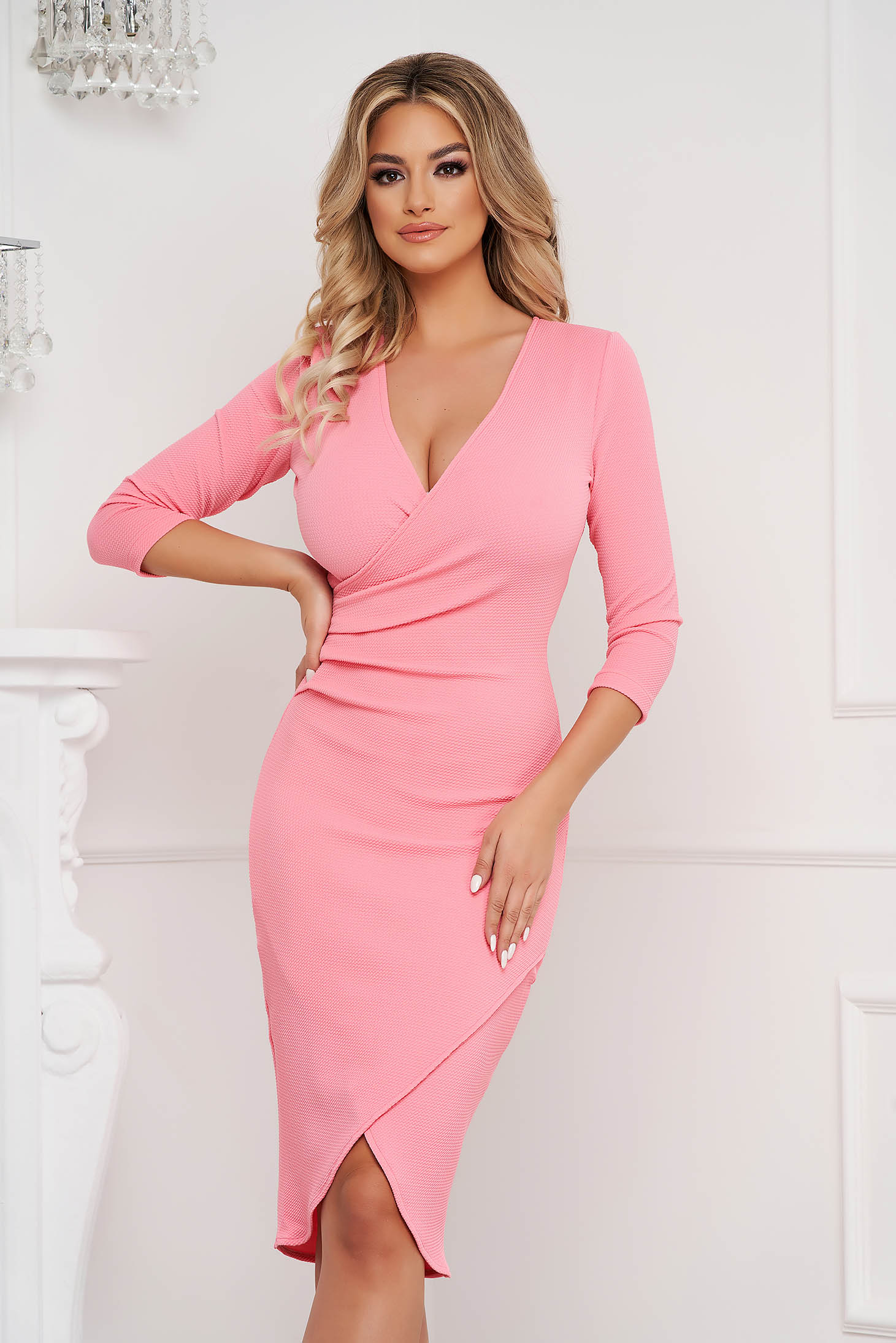 StarShinerS coral dress midi pencil with v-neckline wrap over front from elastic fabric