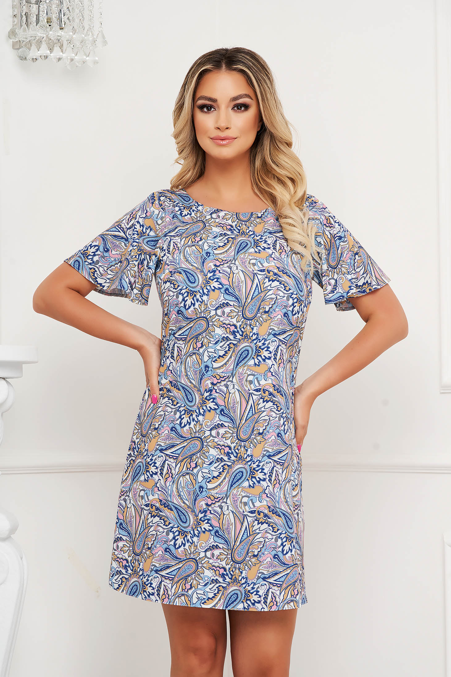 StarShinerS dress thin fabric short cut with rounded cleavage a-line