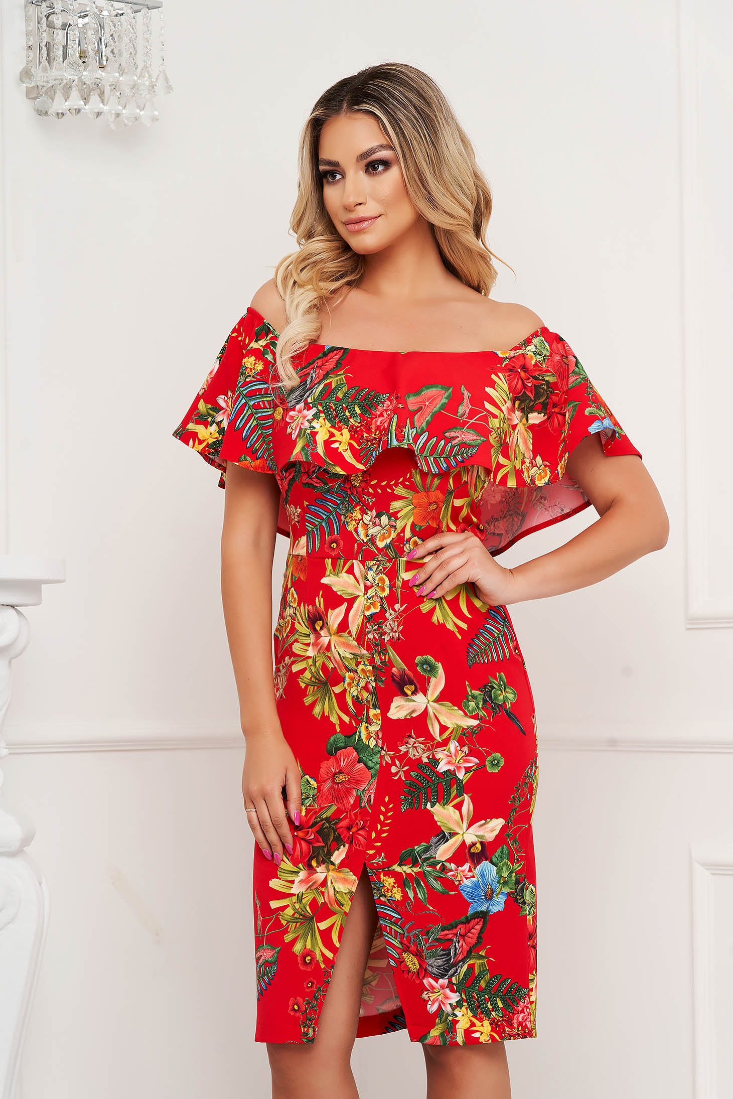 Elegant pencil dress StarShinerS slightly elastic fabric midi with ruffles on the chest off-shoulder