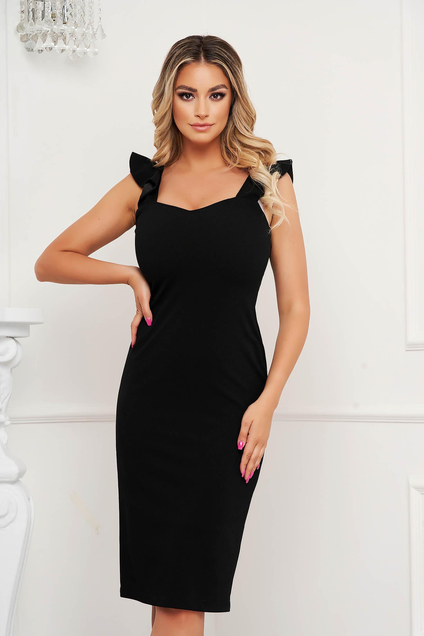 StarShinerS black dress midi pencil elegant with ruffle details from elastic fabric