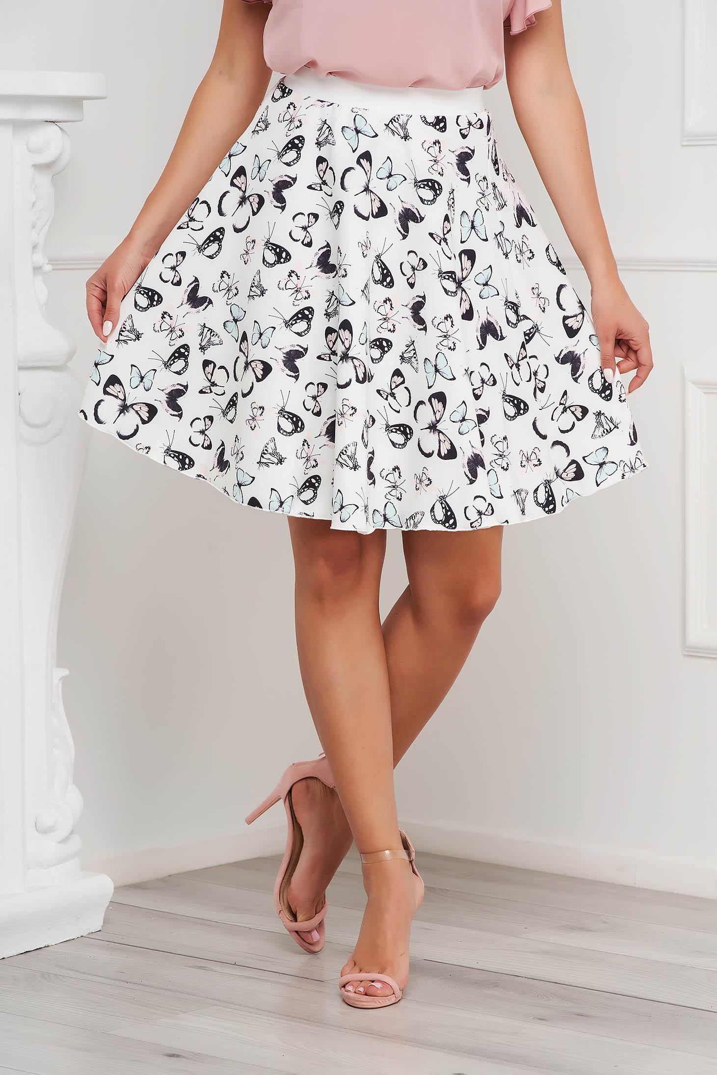 Fehér StarShinerS irodai harang alakú rövid gumírozott derekú szövetből készült szoknya