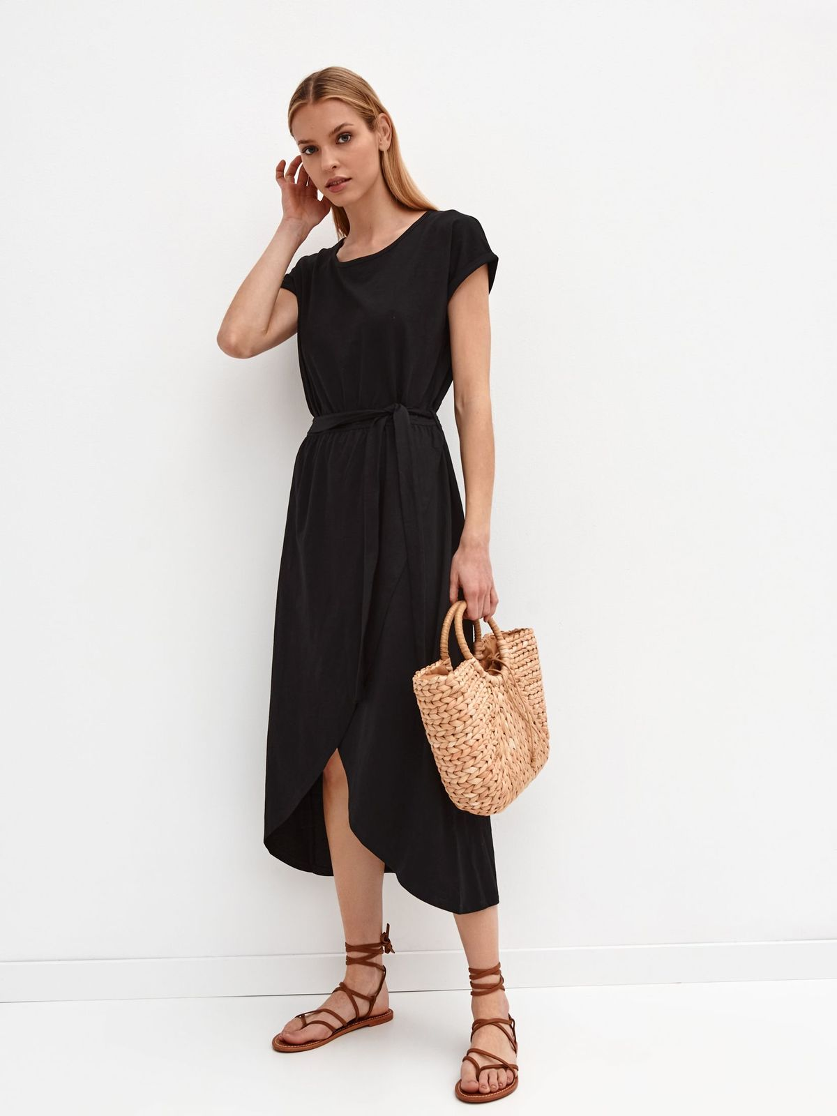 Black dress cloche asymmetrical cotton wrap around