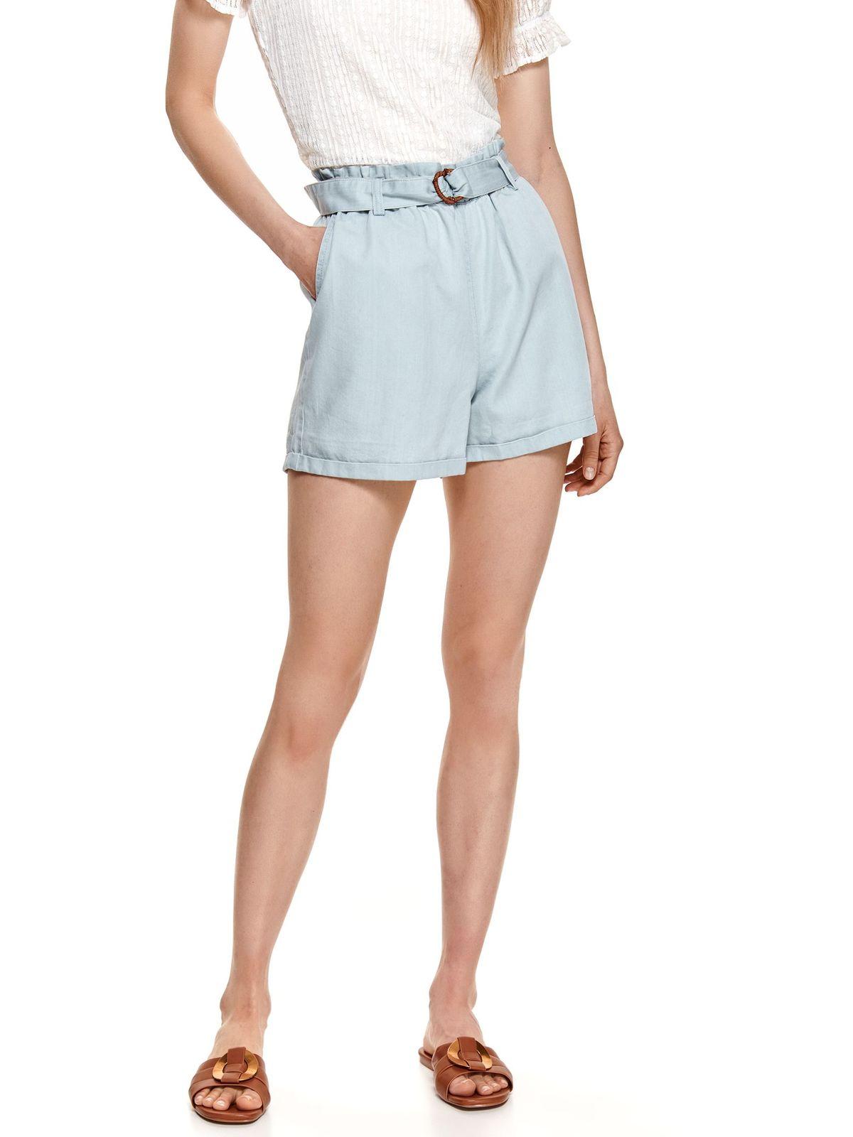 Pantalon scurt Top Secret albastru cu aspect de denim din material subtire cu croi larg si talie inalta