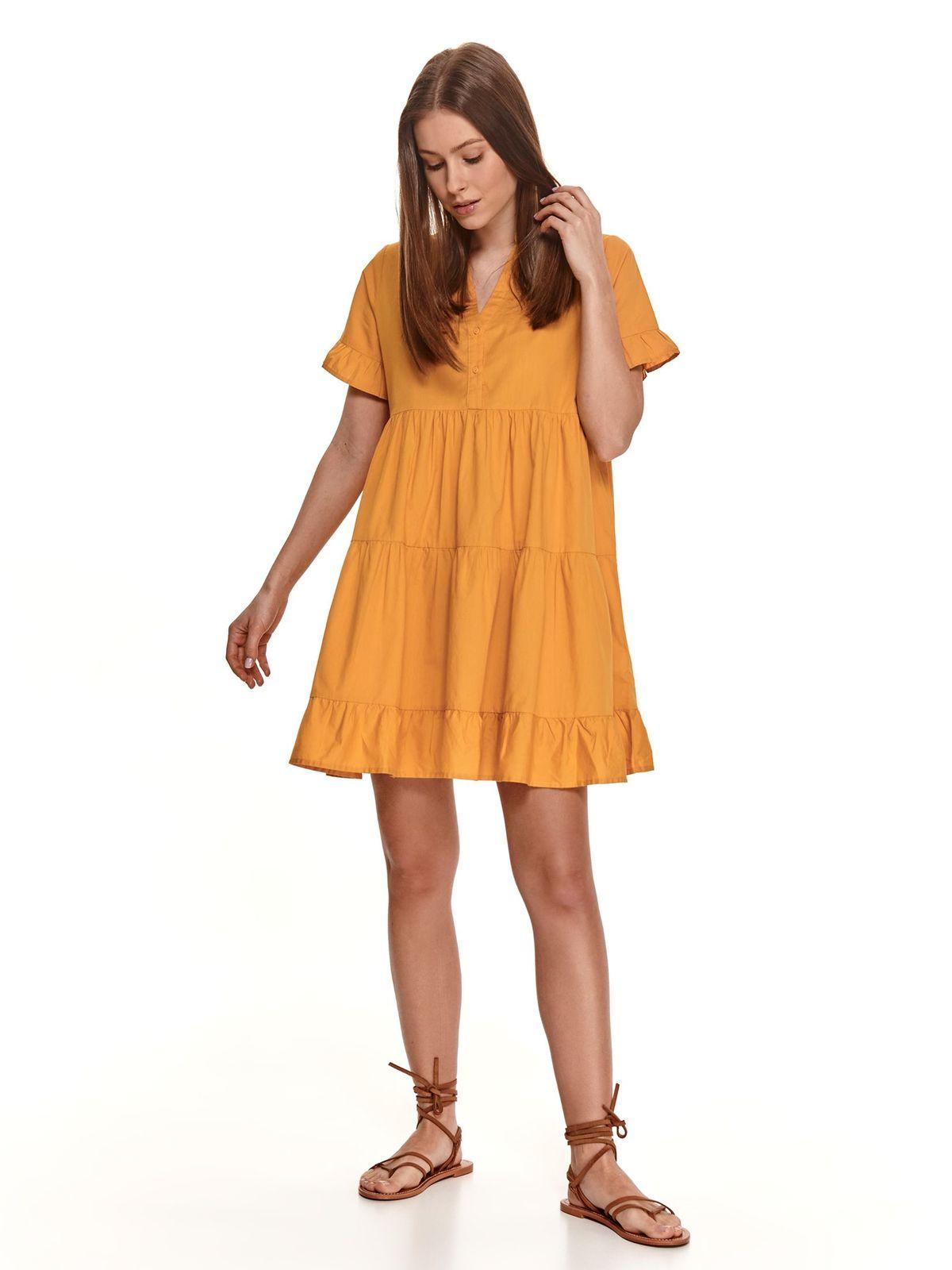 Pamutból készült sárga bő szabású rövid fodros ruha
