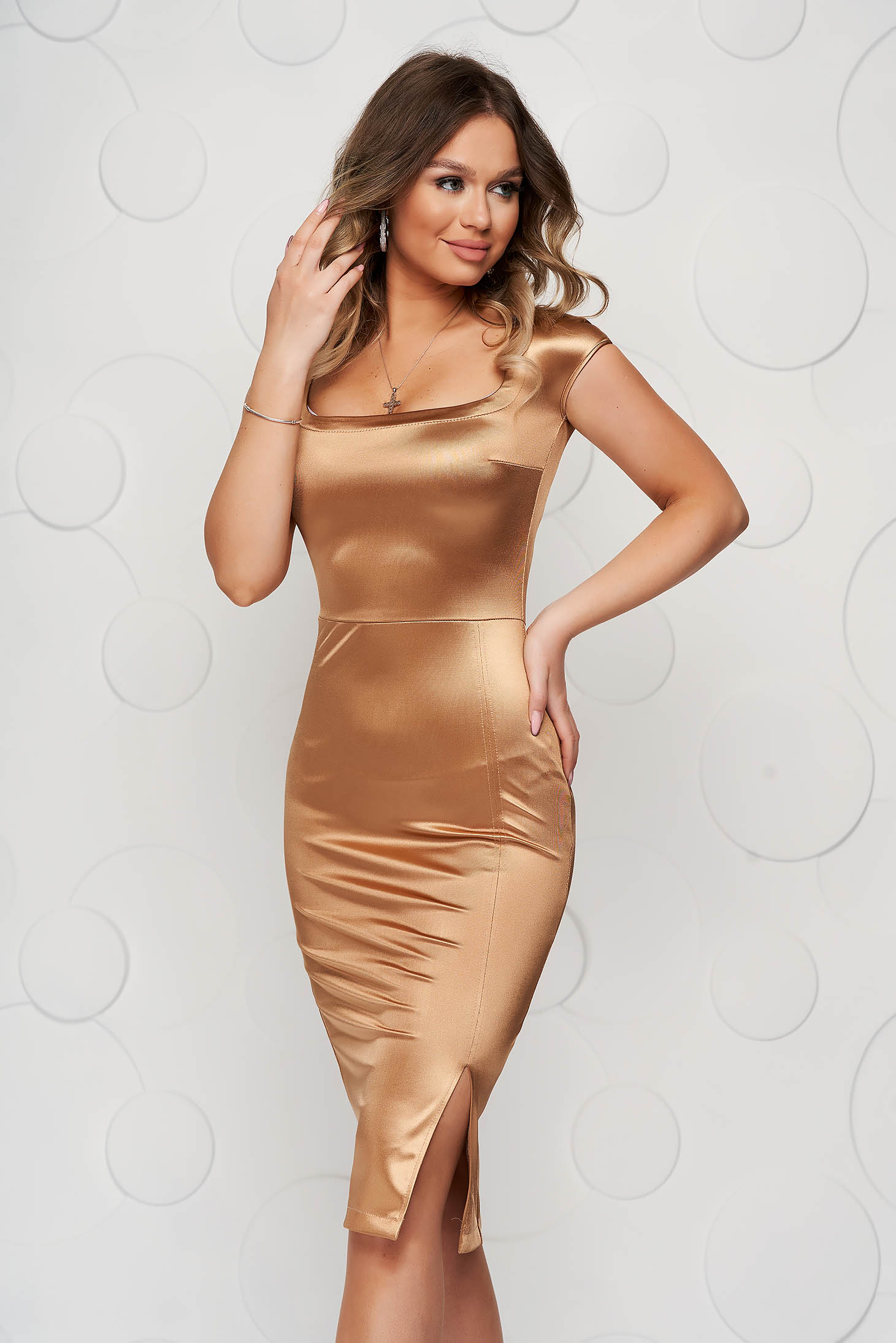 StarShinerS gold from satin dress pencil with deep cleavage midi