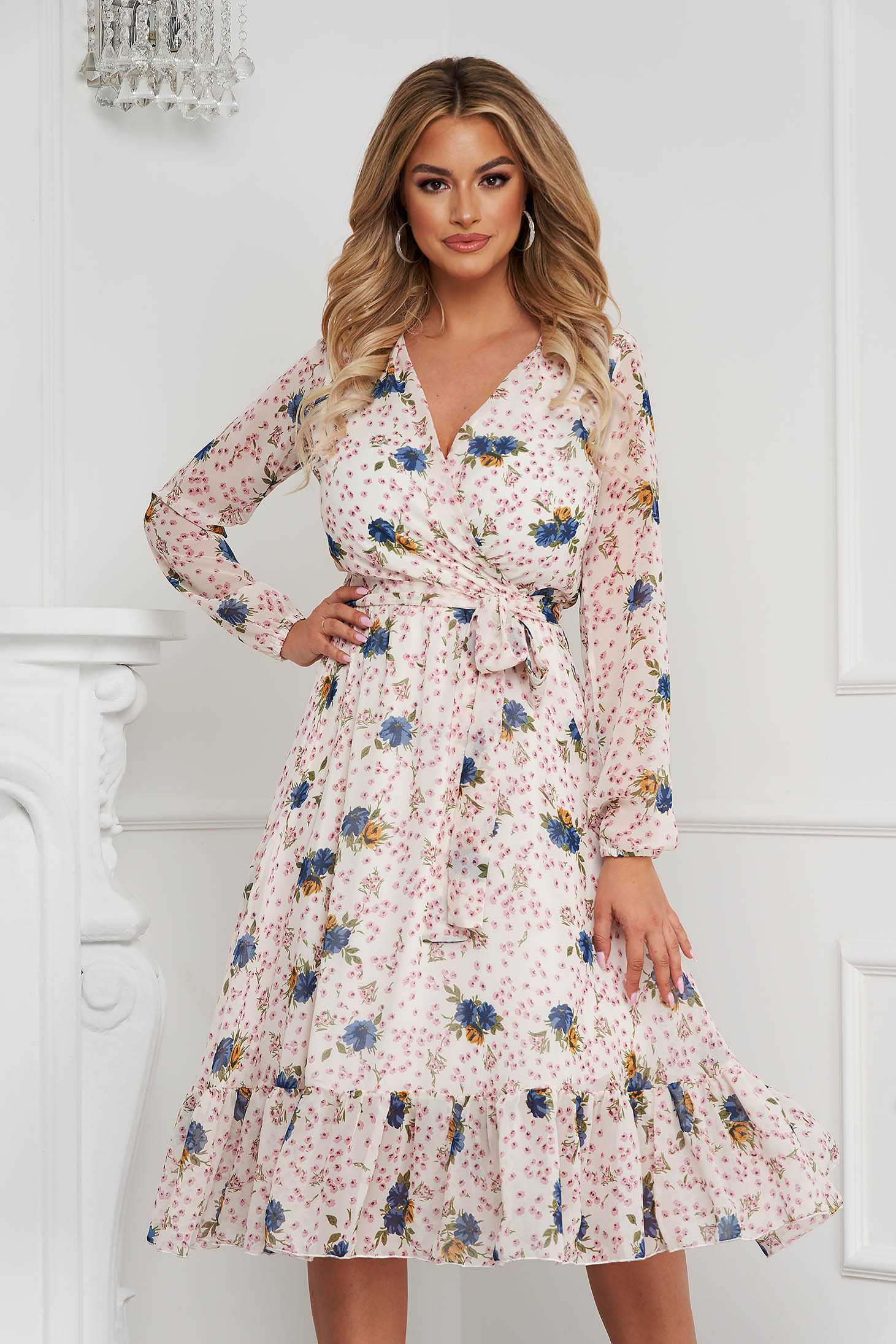 StarShinerS dress with v-neckline midi cloche with elastic waist airy fabric with floral print