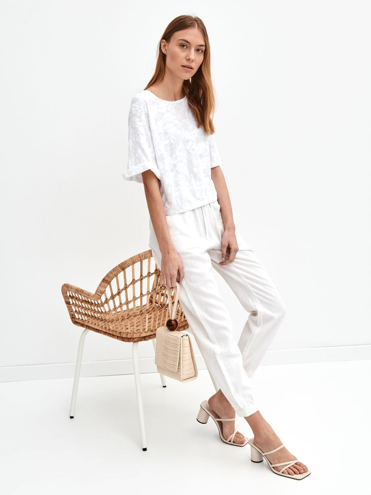 White trousers linen high waisted with front pockets long